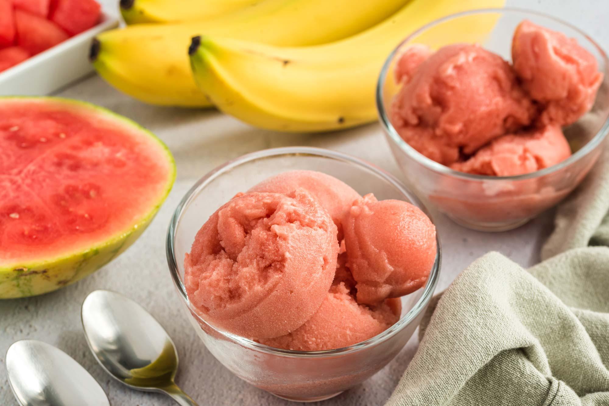 watermelon gelato in serving bowls