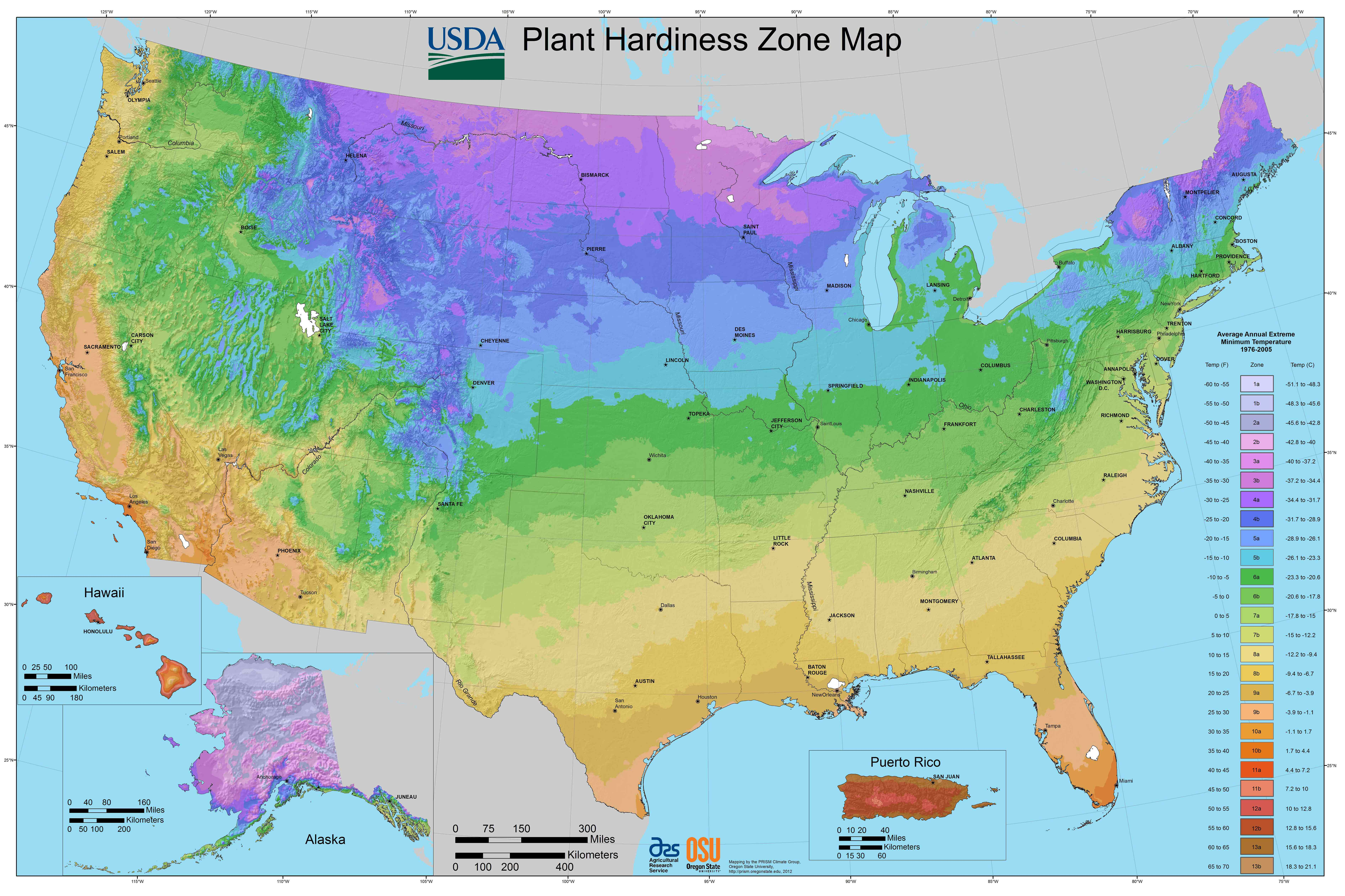 A plant hardiness map of the USA