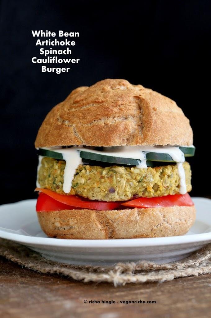 Artichoke Spinach Cauliflower Bean Burger