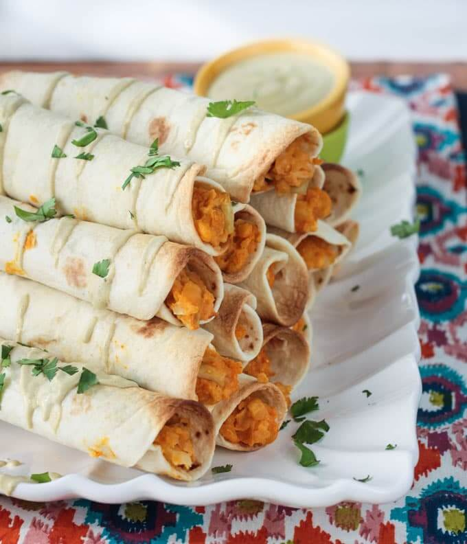 plant-based freezer meal, Chickpea and Artichoke Vegan Taquitos