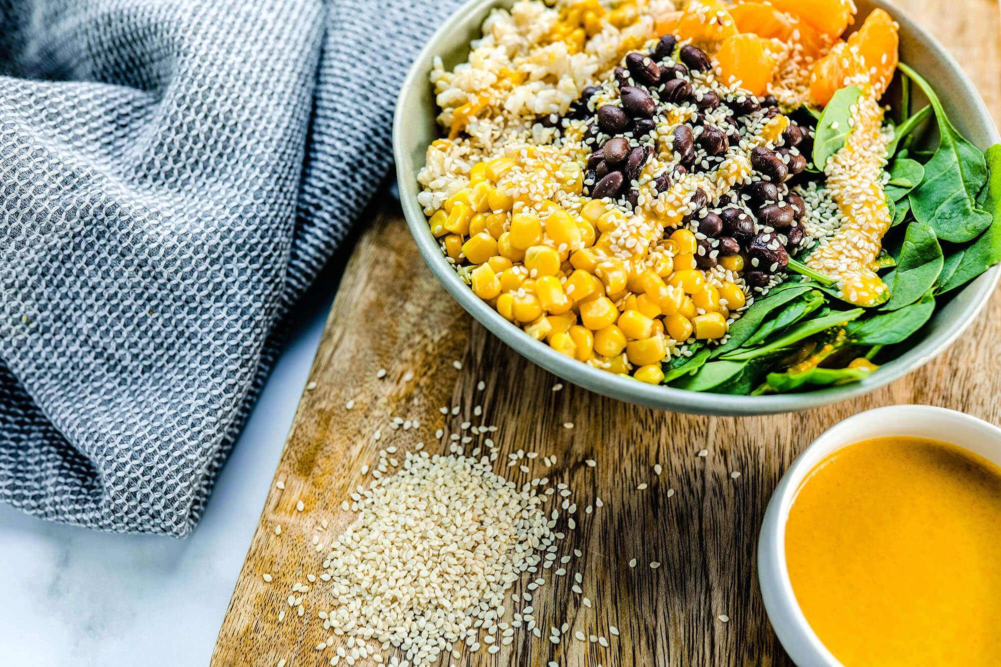 Brown Rice Lunch Bowl with 24-Carrot Gold Dressing