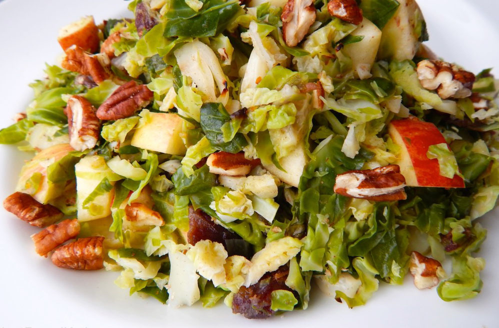 Brussels Sprouts Salad with Apples & Pecans