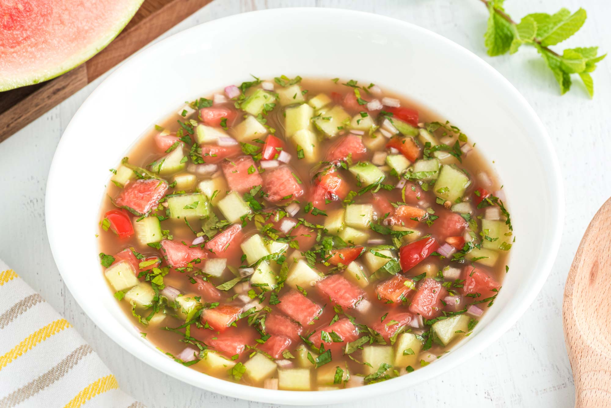 cooling watermelon gazpacho in a bowl