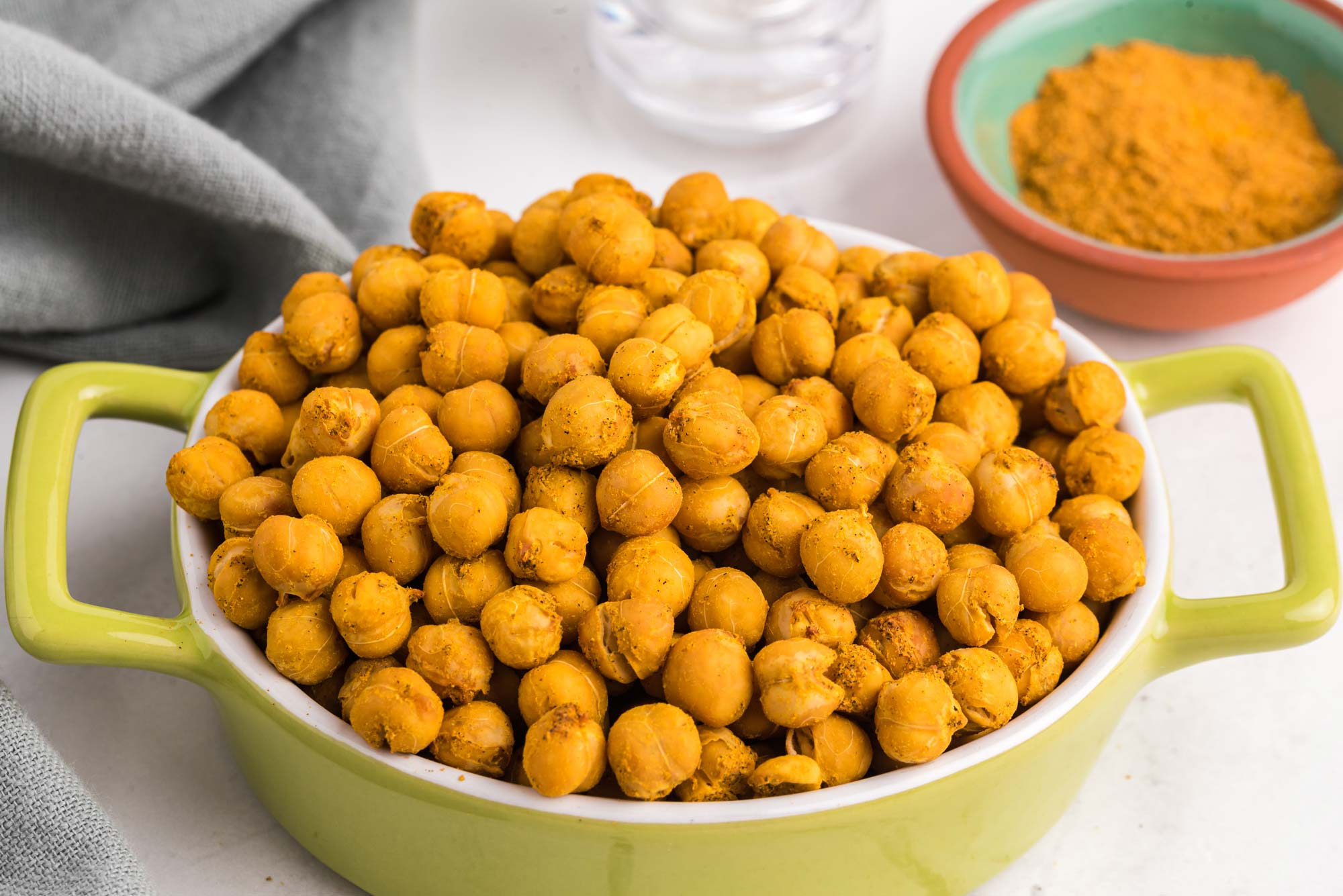 crunchy curried chickpeas in dish