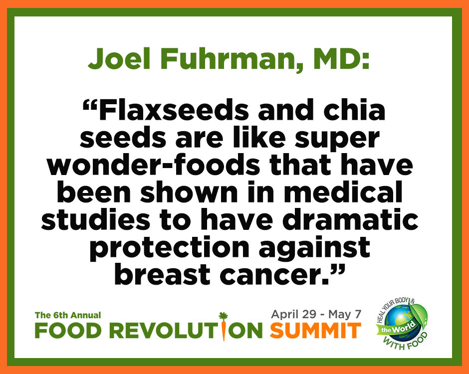 Quote about breast cancer by Joel Fuhrman, MD, during the Food Revolution Summit