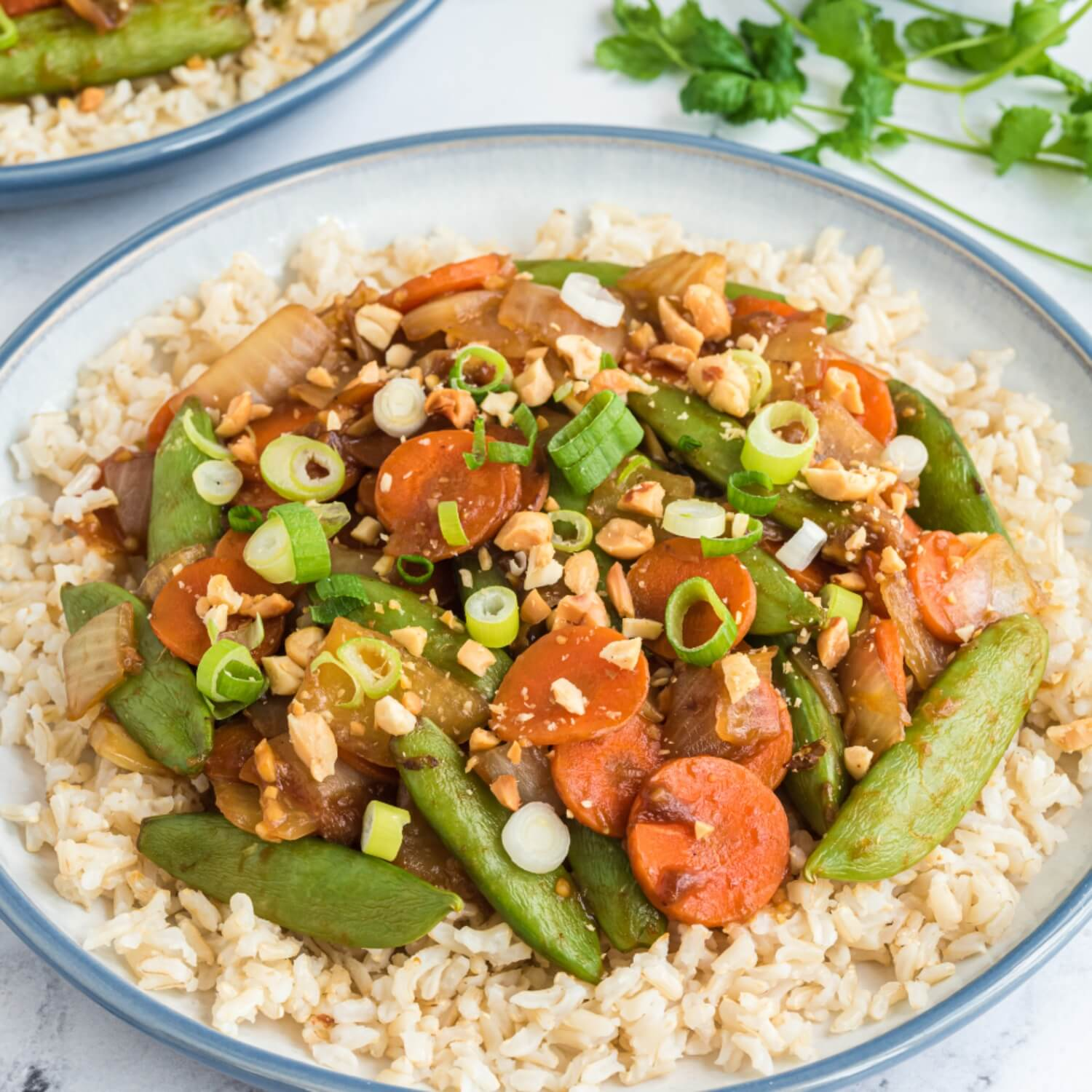 ginger stir-fry snow peas and carrots
