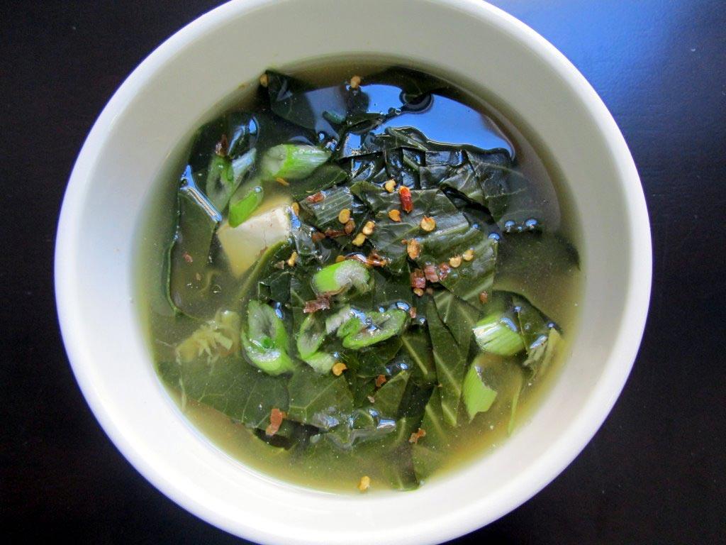 collard green miso soup