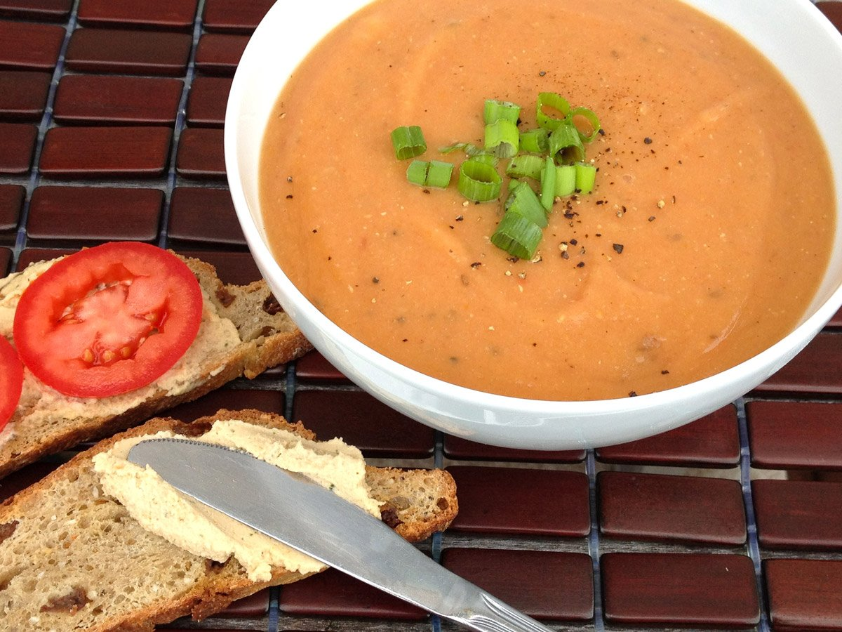 tomato lentil soup with cumin and dill