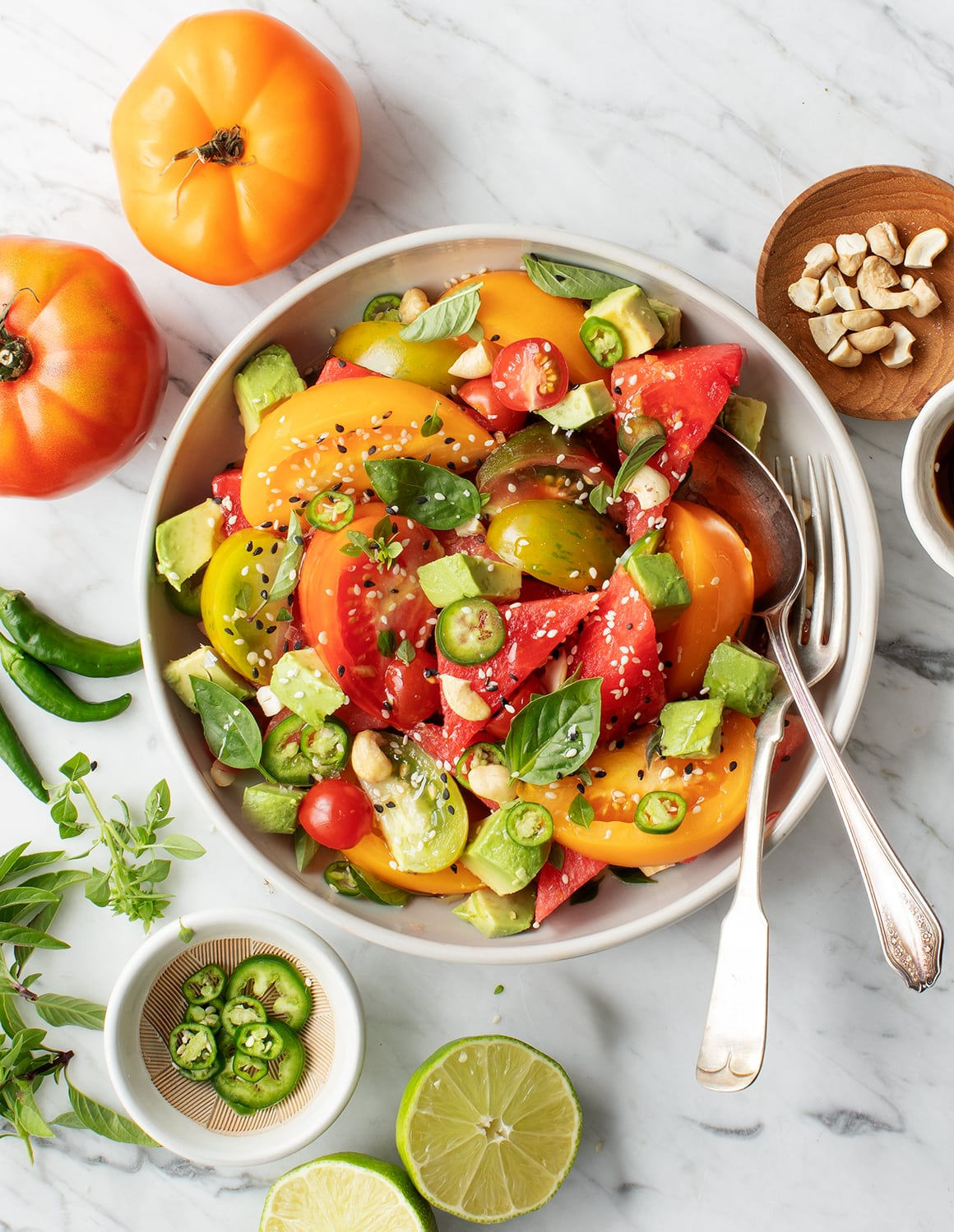 Watermelon Salad with Tomato & Avocado