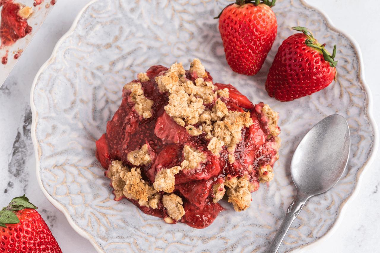 Ooey gooey strawberry crumble warm dessert