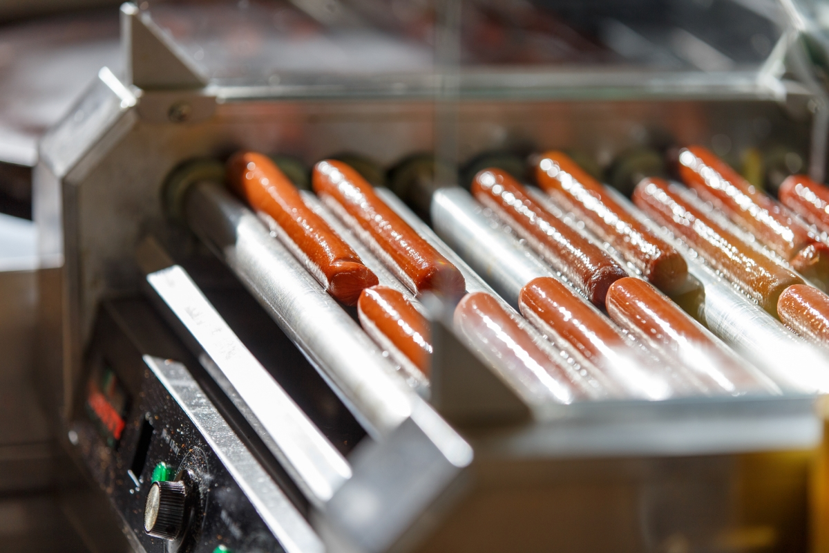 Hot dogs on a warmer machine