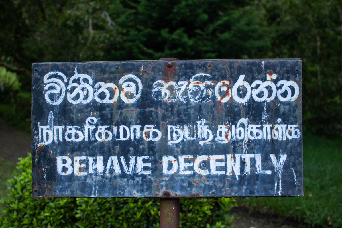 Behave Decently sign in Asia