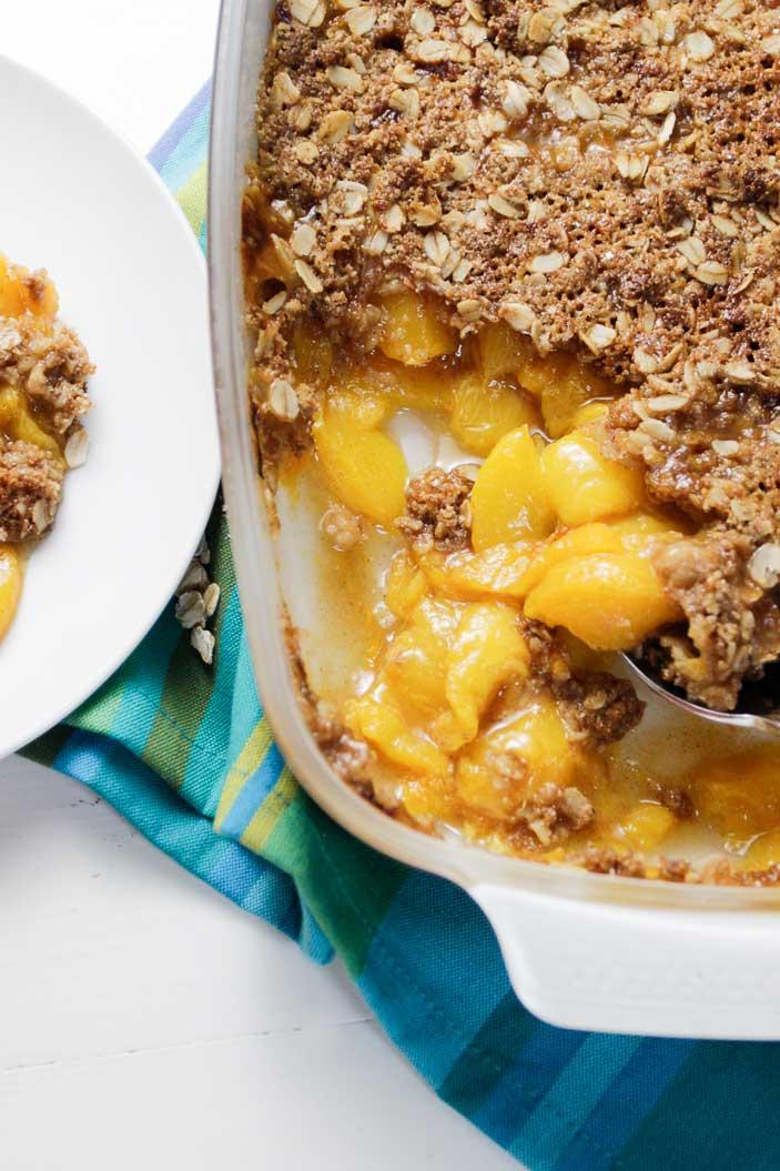 Summer Dessert: Peach Crisp Plant Based Cooking