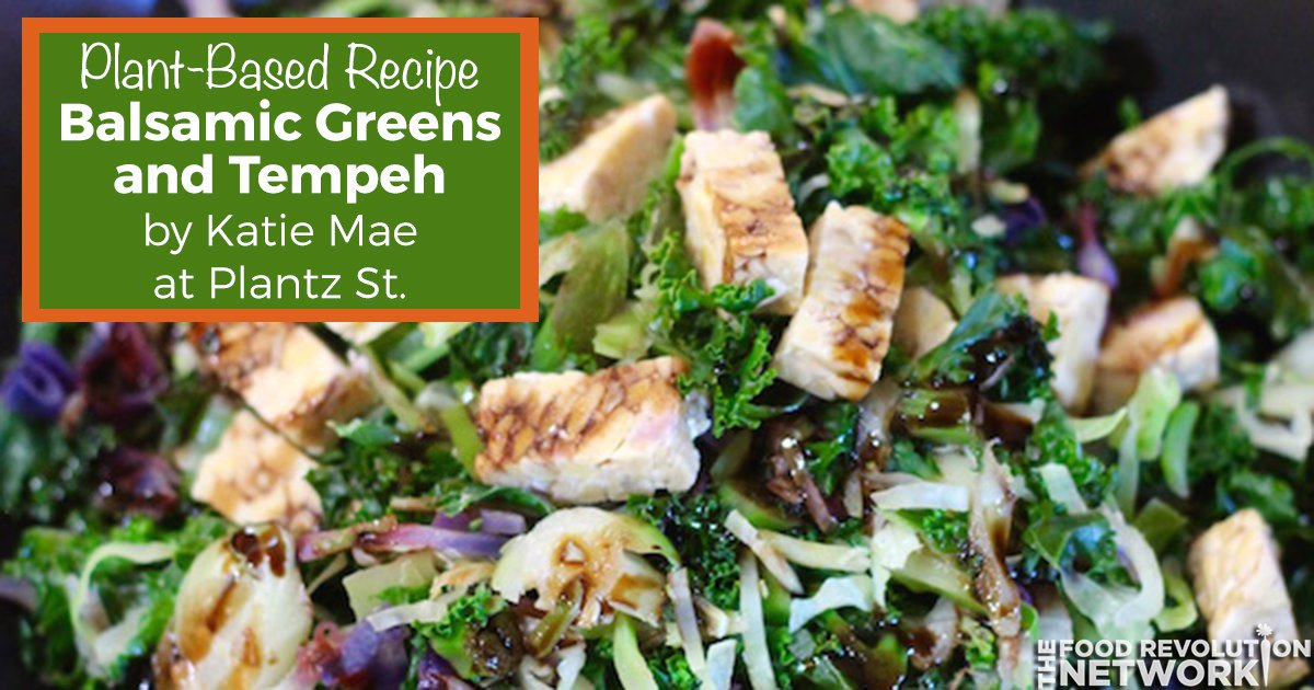 Plant-based recipe for balsamic greens and tempeh
