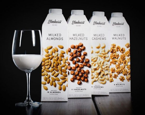 A non-dairy company's plant-based milk by Elmhurt