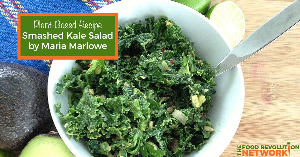 Plant-based recipe for smashed kale salad