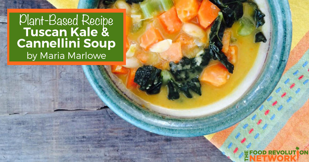 Plant-based recipe for Tuscan kale soup