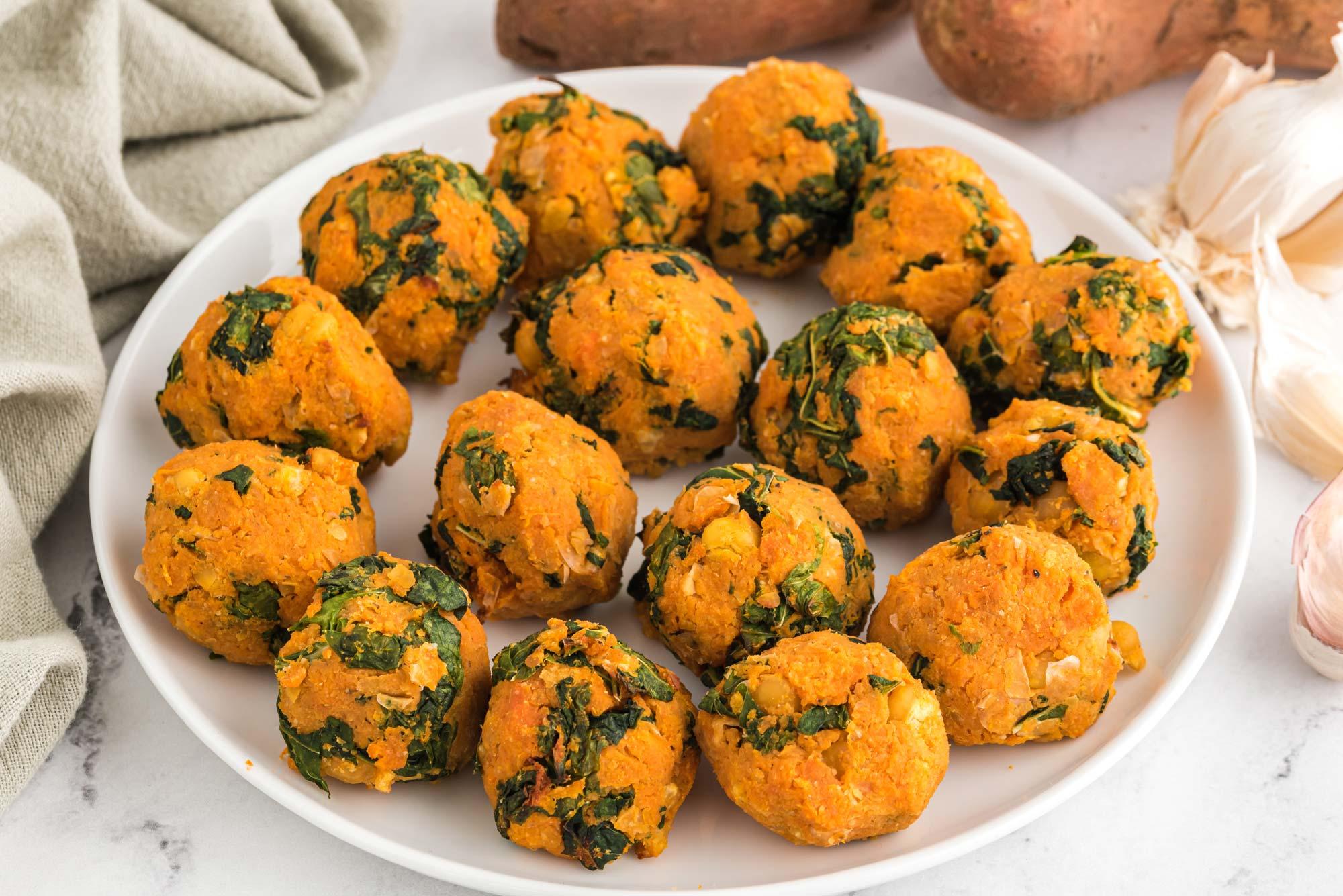 sweet potato kales bites on plate