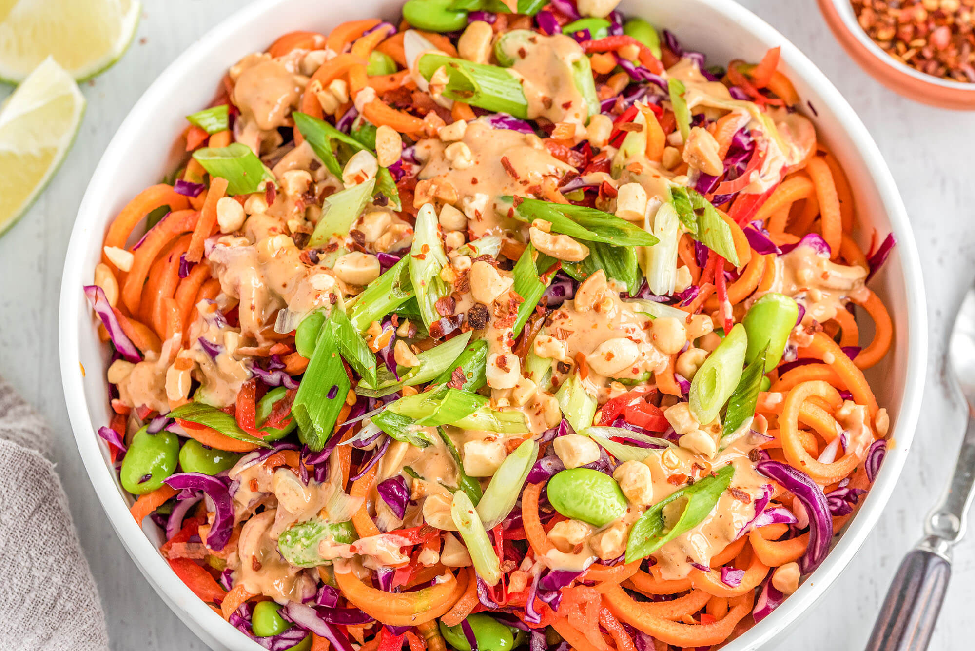 Spiralizer recipe: Thai Peanut Rainbow Noodles