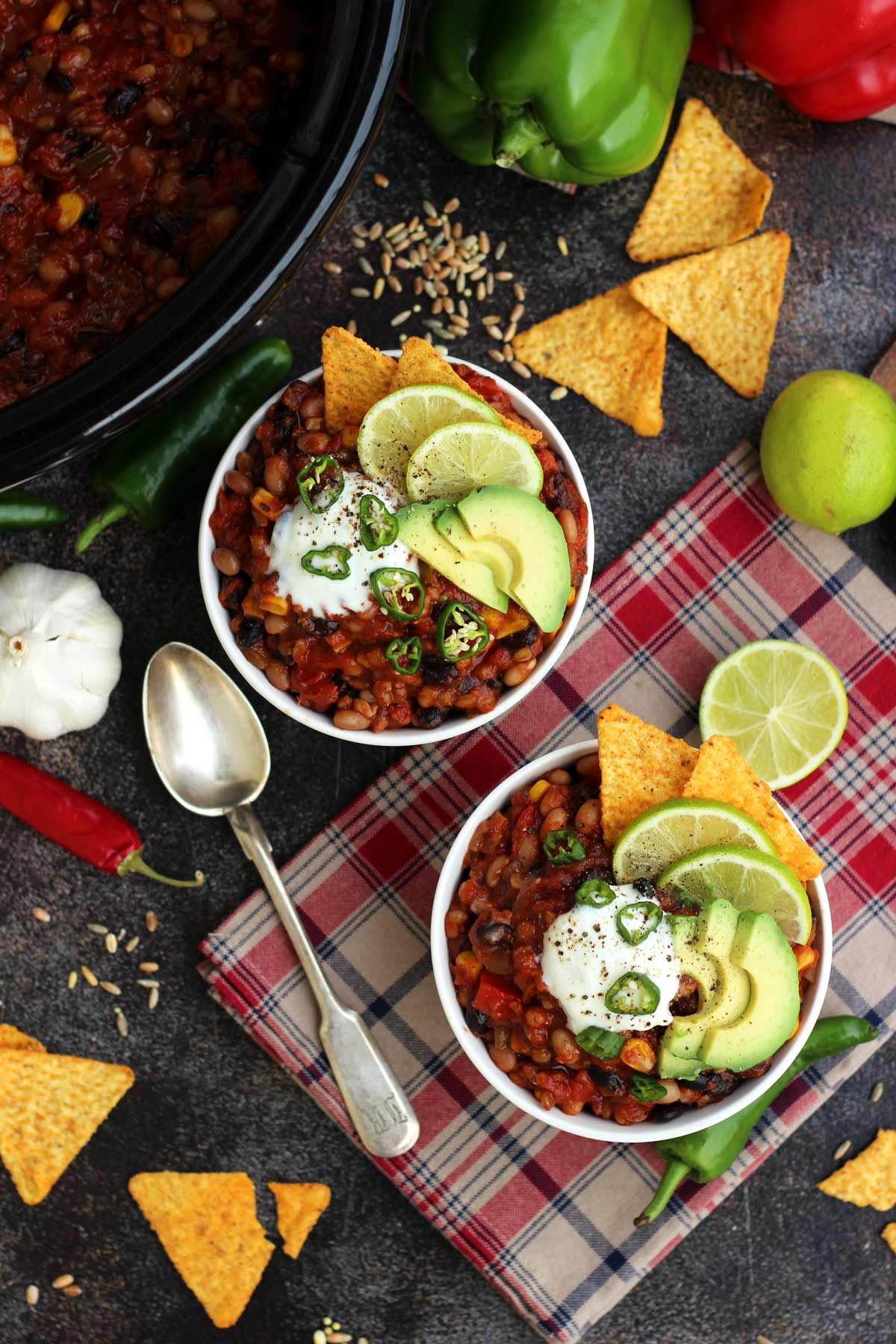 plant-based freezer meal, slow cooker vegan chili