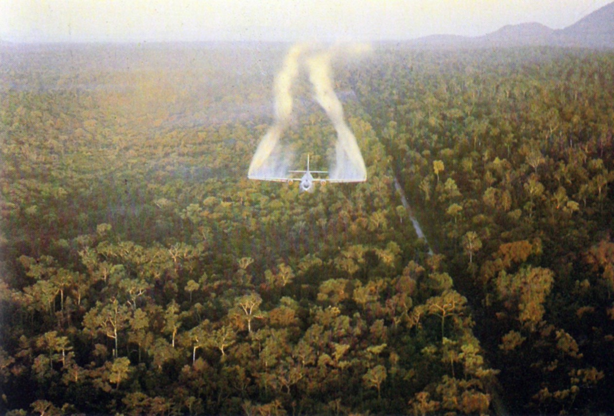 """Ranch Hand"" aircraft spraying defoliant next to a road in South Vietnam in 1962."