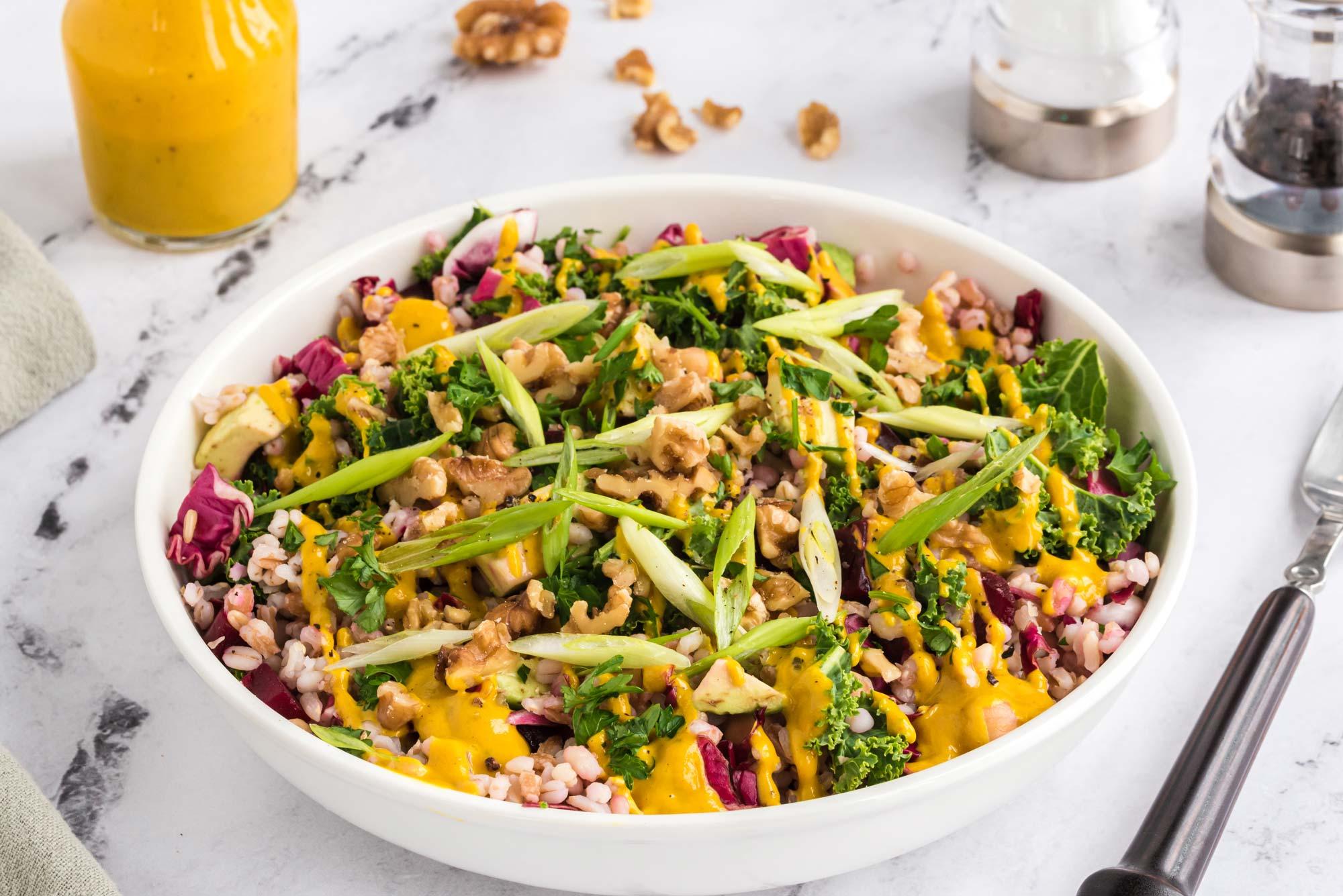 warm einkorn salad with winter vegetables