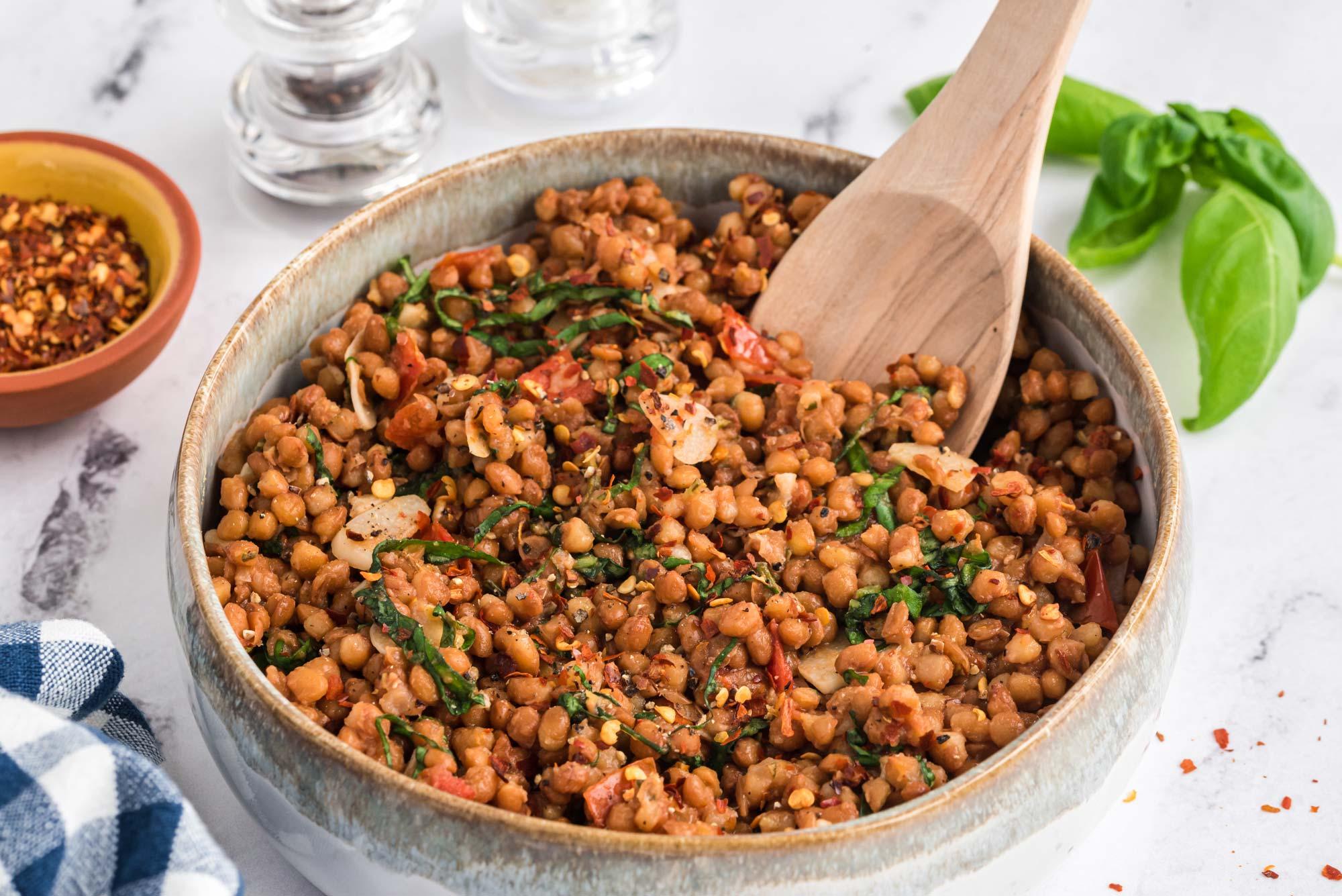 warm garlic and herb lentils