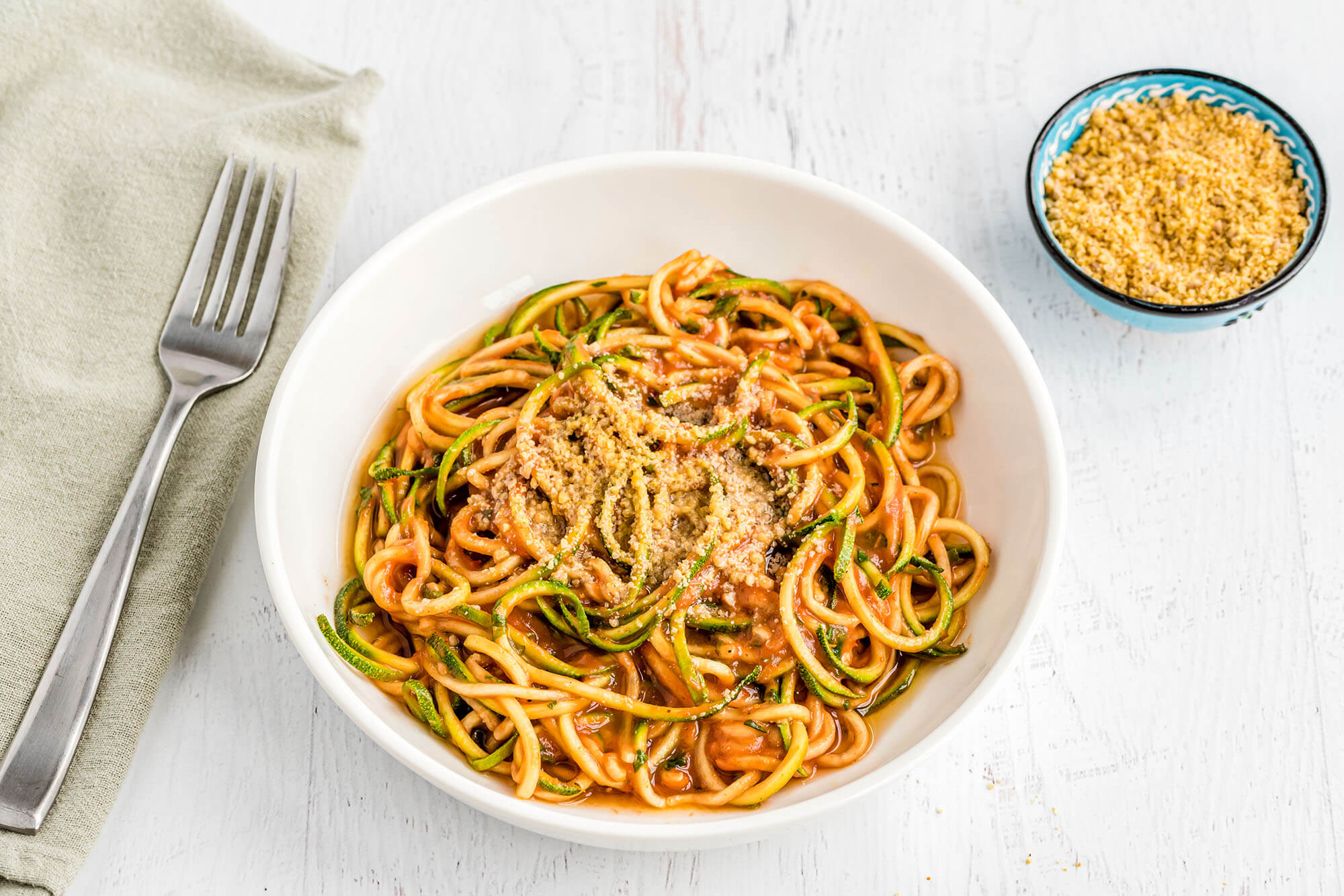 Zucchini Noodles with Raw Marinara Sauce