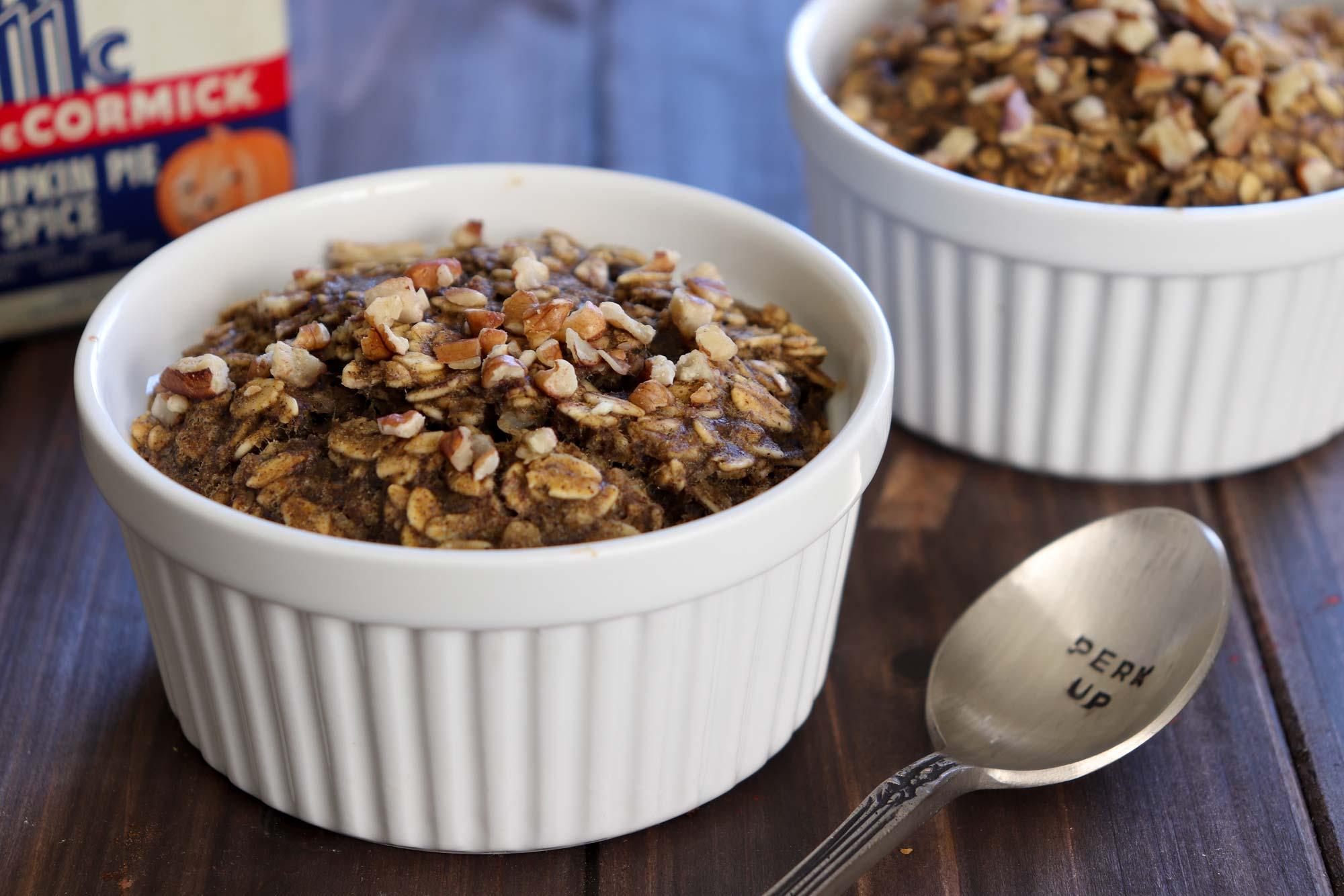 baked pumpkin oatmeal in ramekins