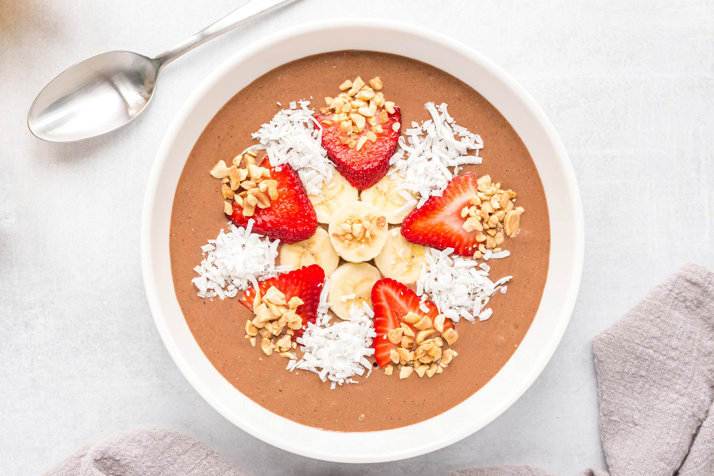 Banana split dairy free chocolate smoothie bowl