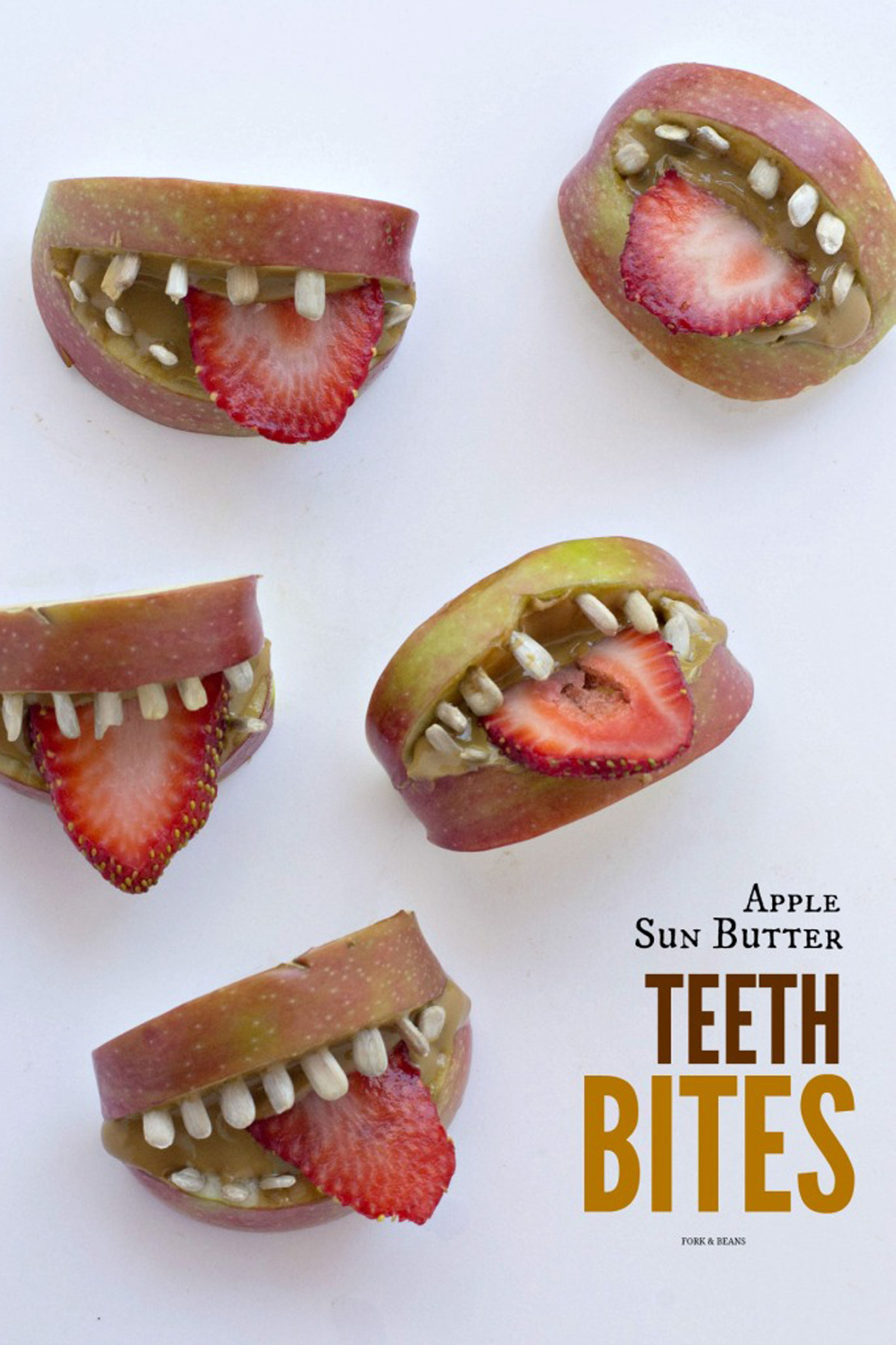 Healthy Halloween Snacks & Treats: Apple Sunbutter Teeth Bites