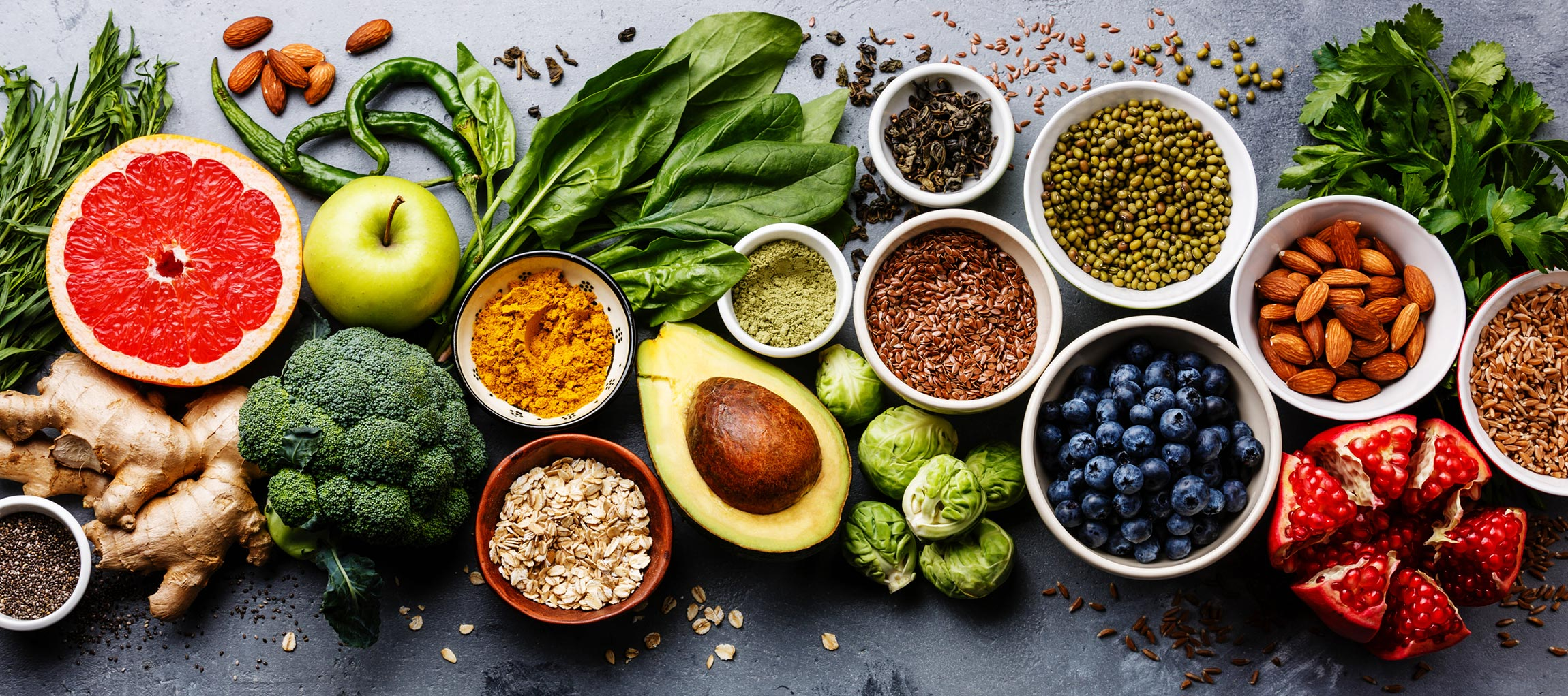 display of variety of healthy foods