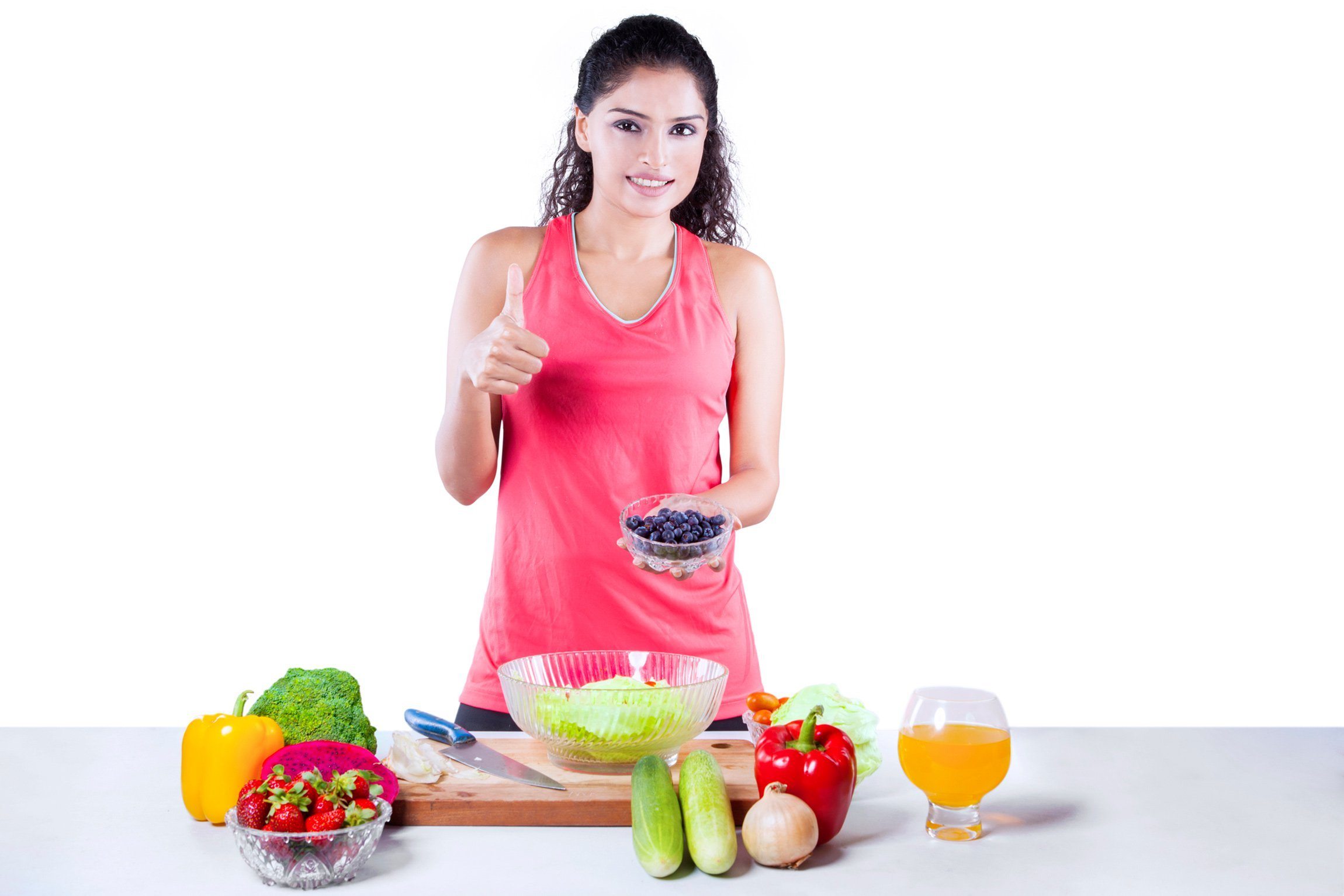 Woman preparing fruits and veggies