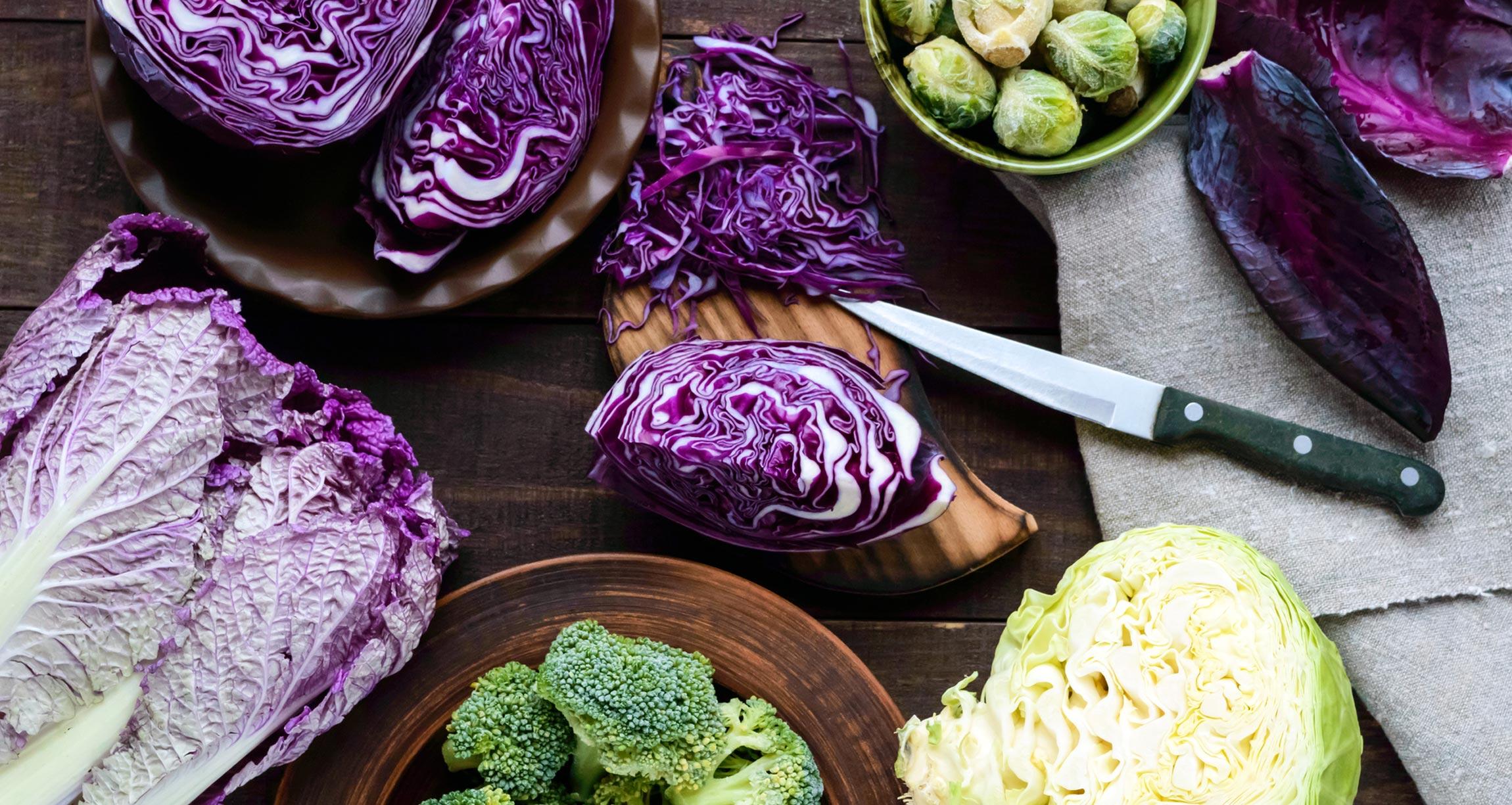 display of cruciferous vegetables