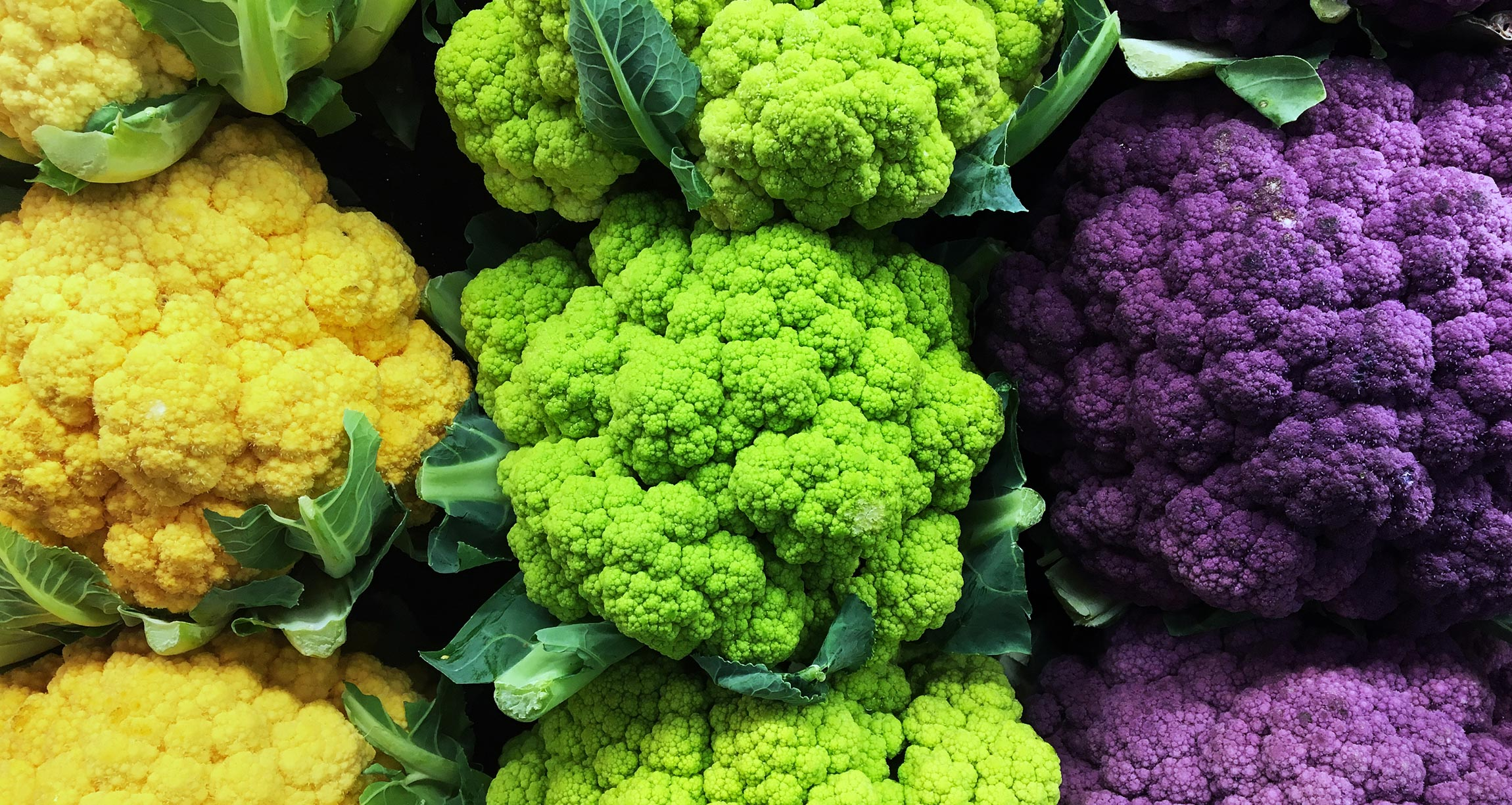 yellow, green, and purple cauliflower