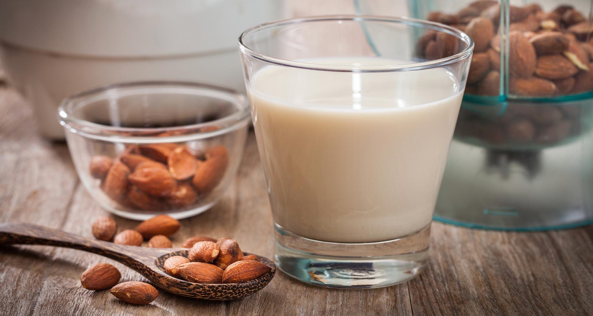 glass of almond milk