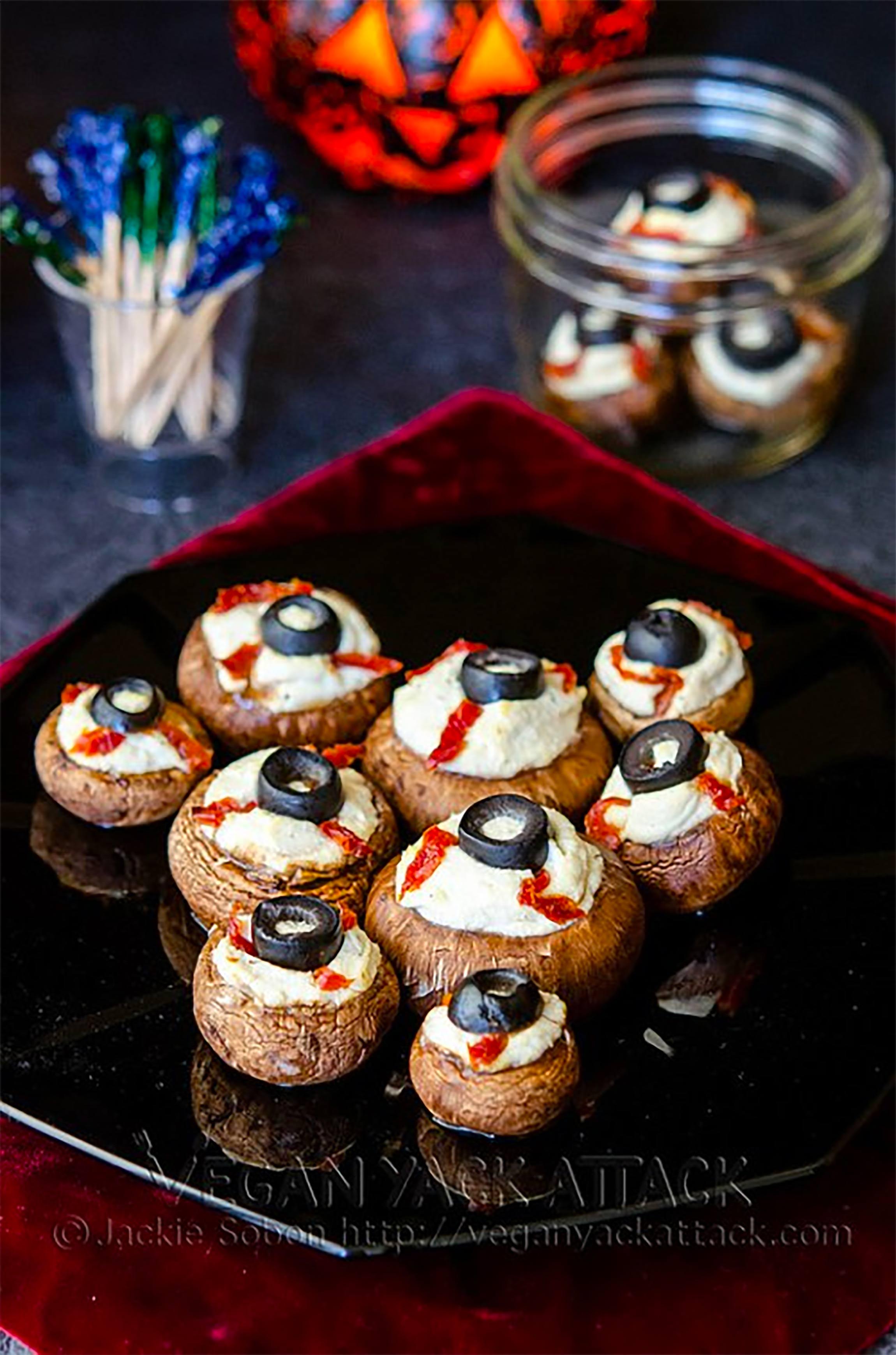 """Stuffed Mushroom """"Eyeballs"""": Plant-Based Halloween Snacks & Treats"""