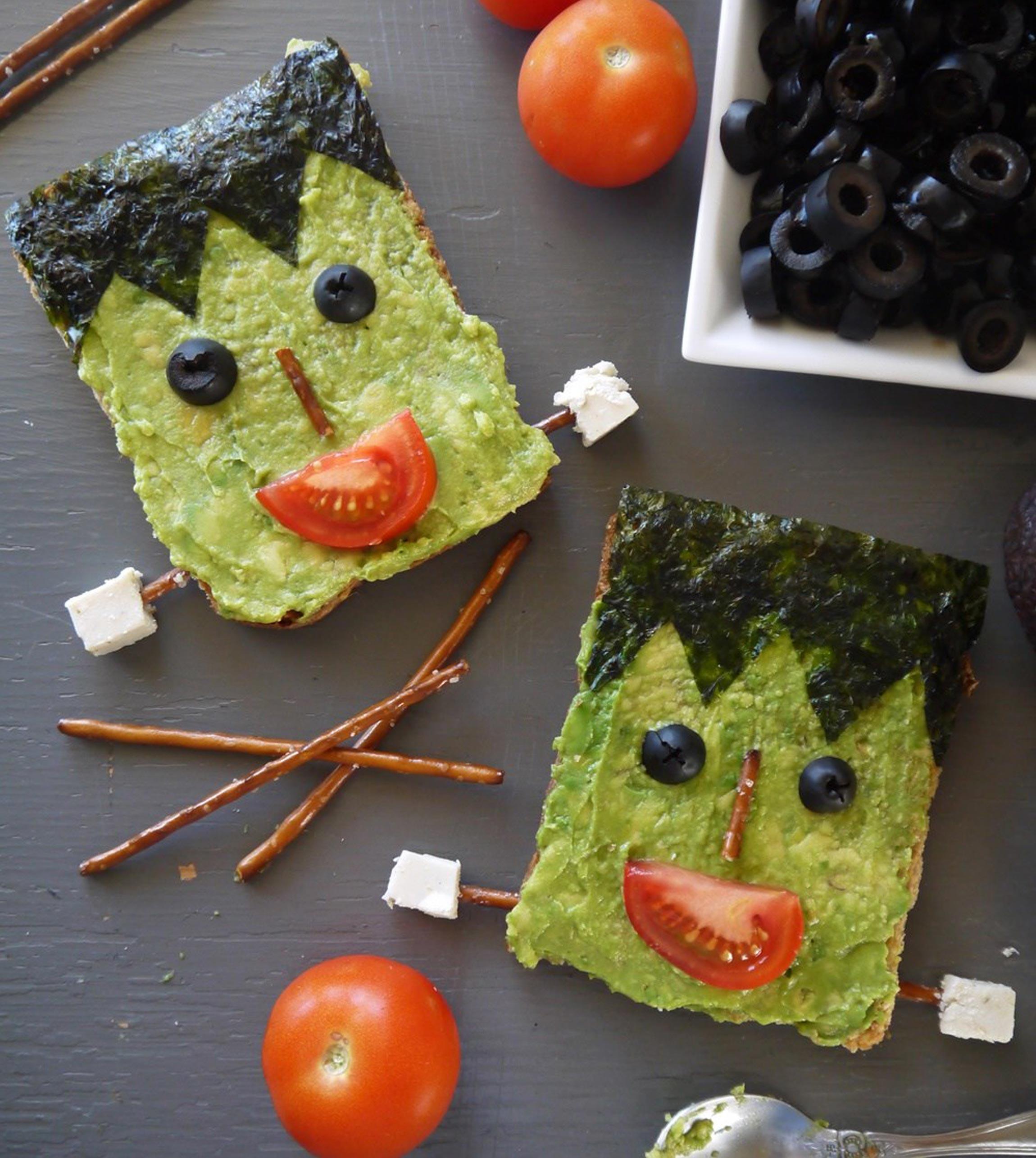 Healthy Halloween Snacks & Treats: Frankenstein Avocado Toast