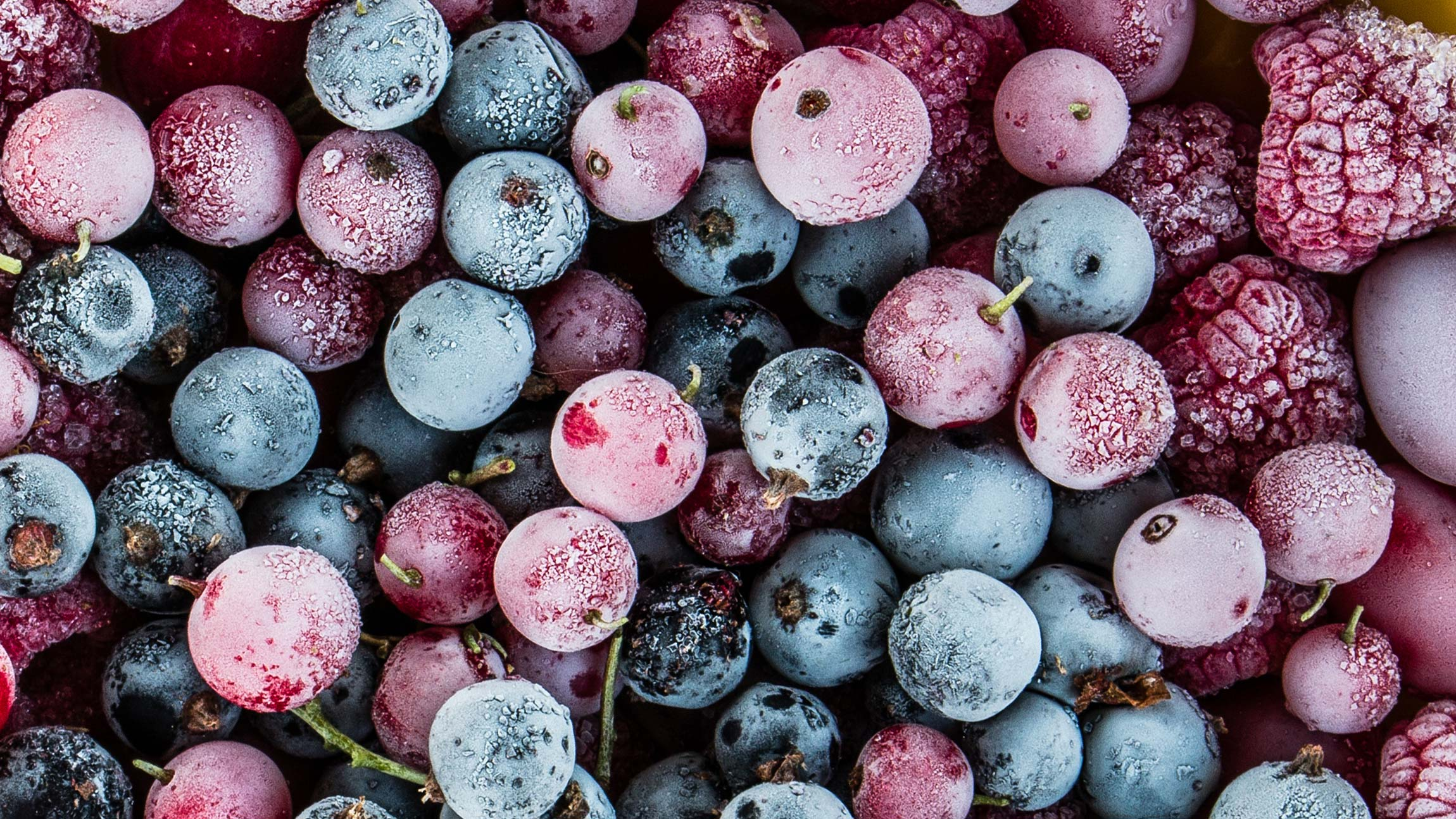 frozen blueberries, cherries, and rasberries