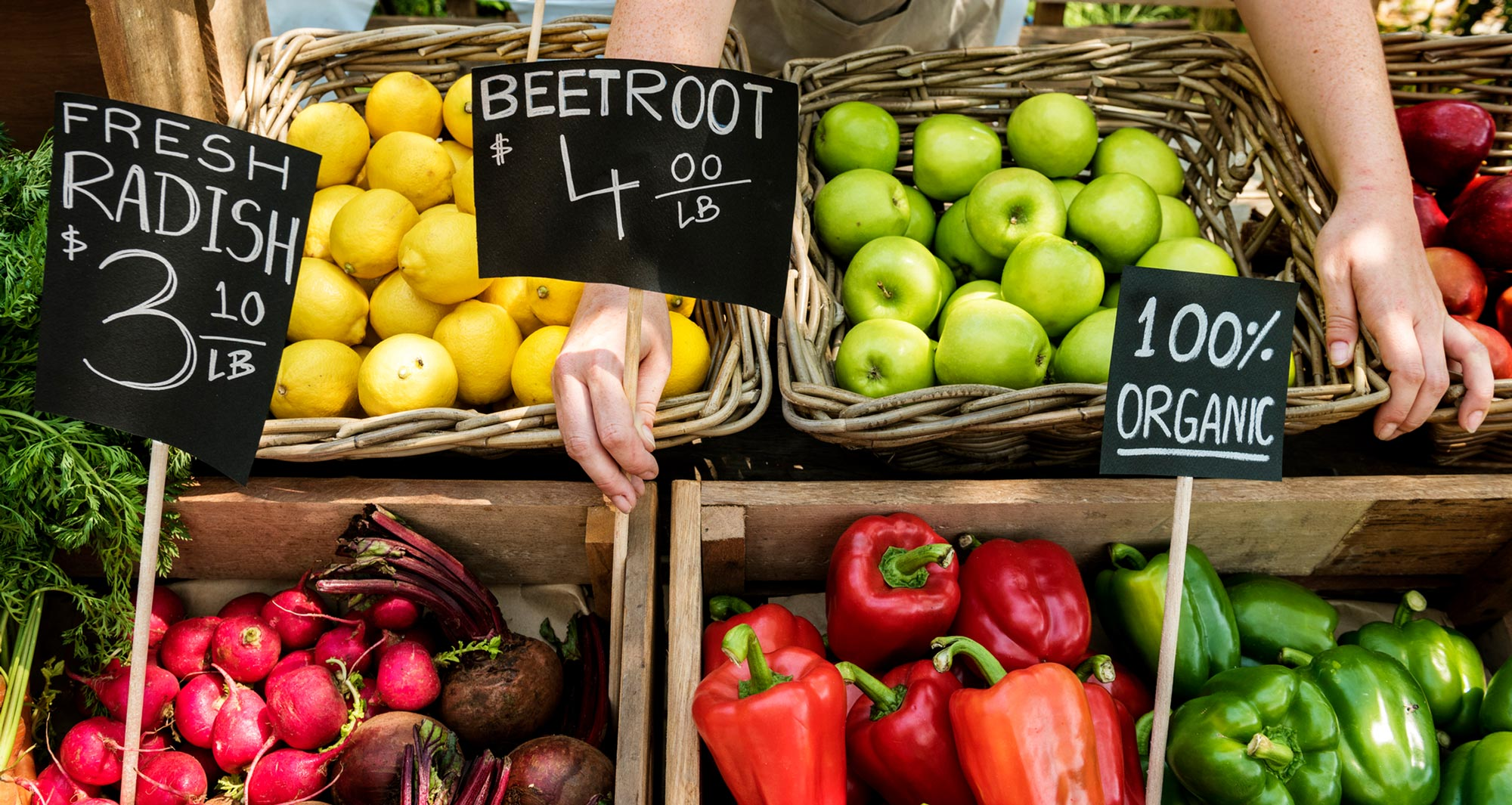 market stand of fruits and vegetables