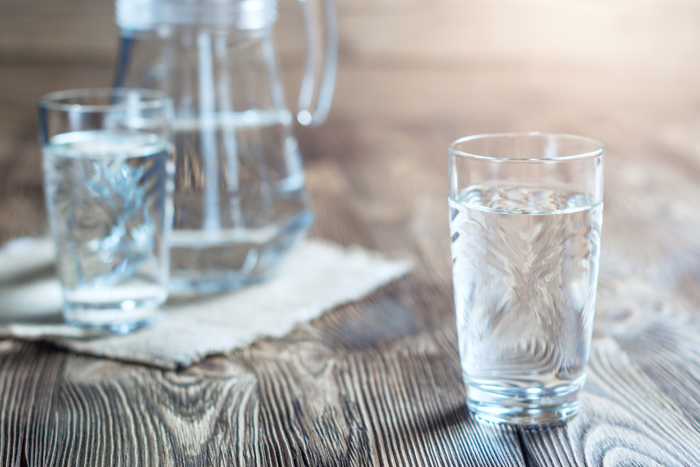 drinking water in glass