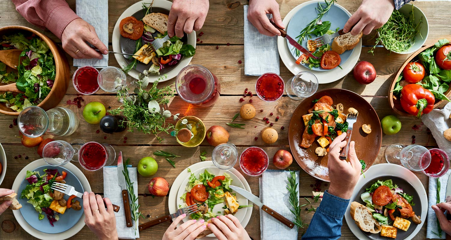 holiday healthy food dinner table