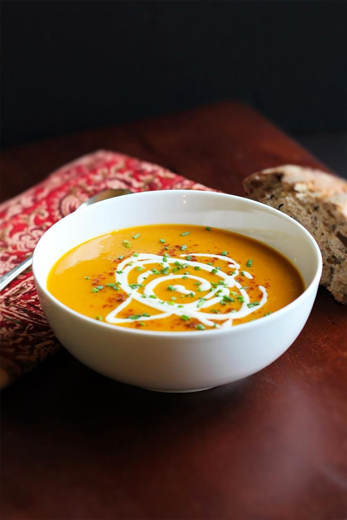 bowl of butternut squash soup - healthy holiday recipes