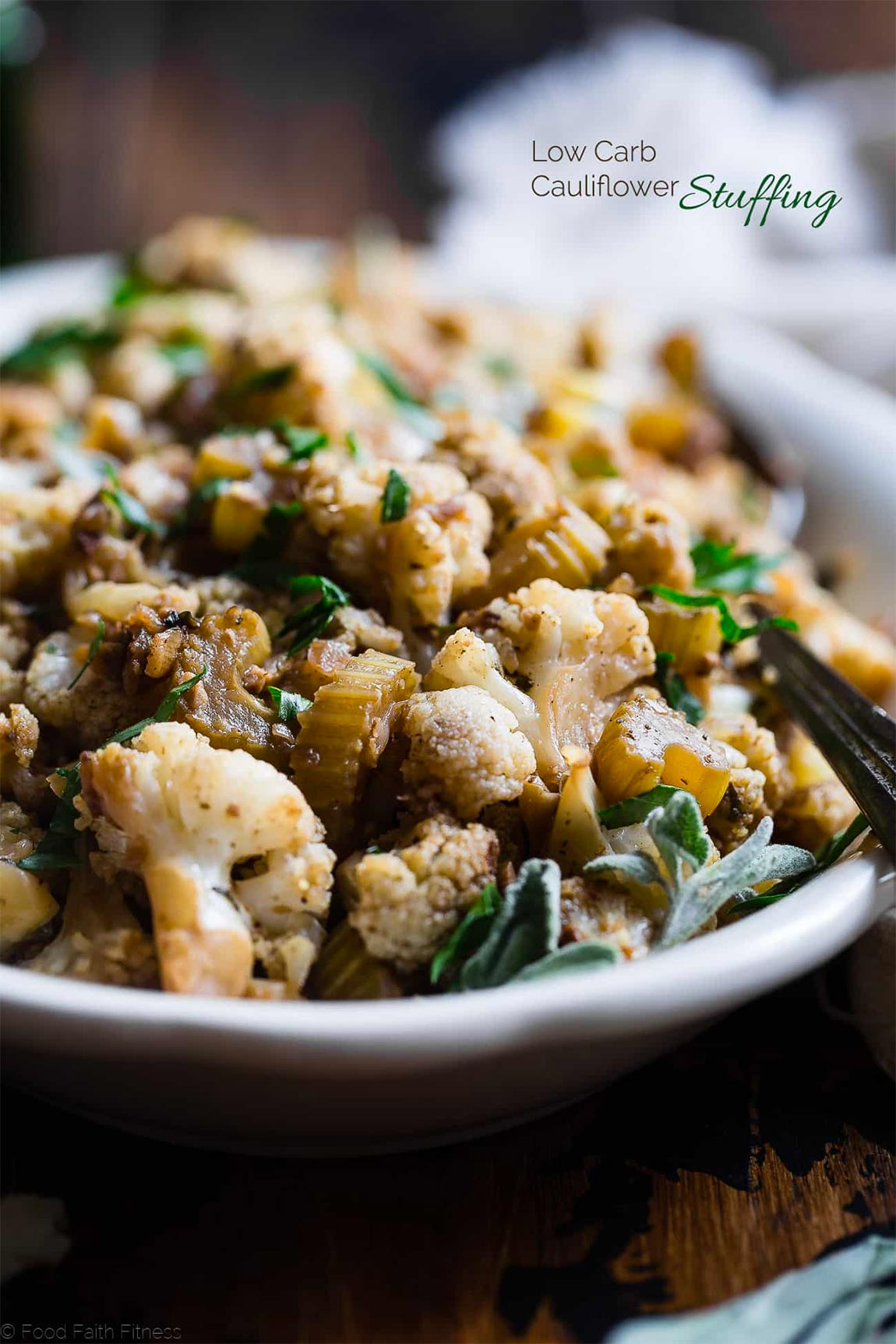 bowl of cauliflower stuffing - healthy holiday recipes