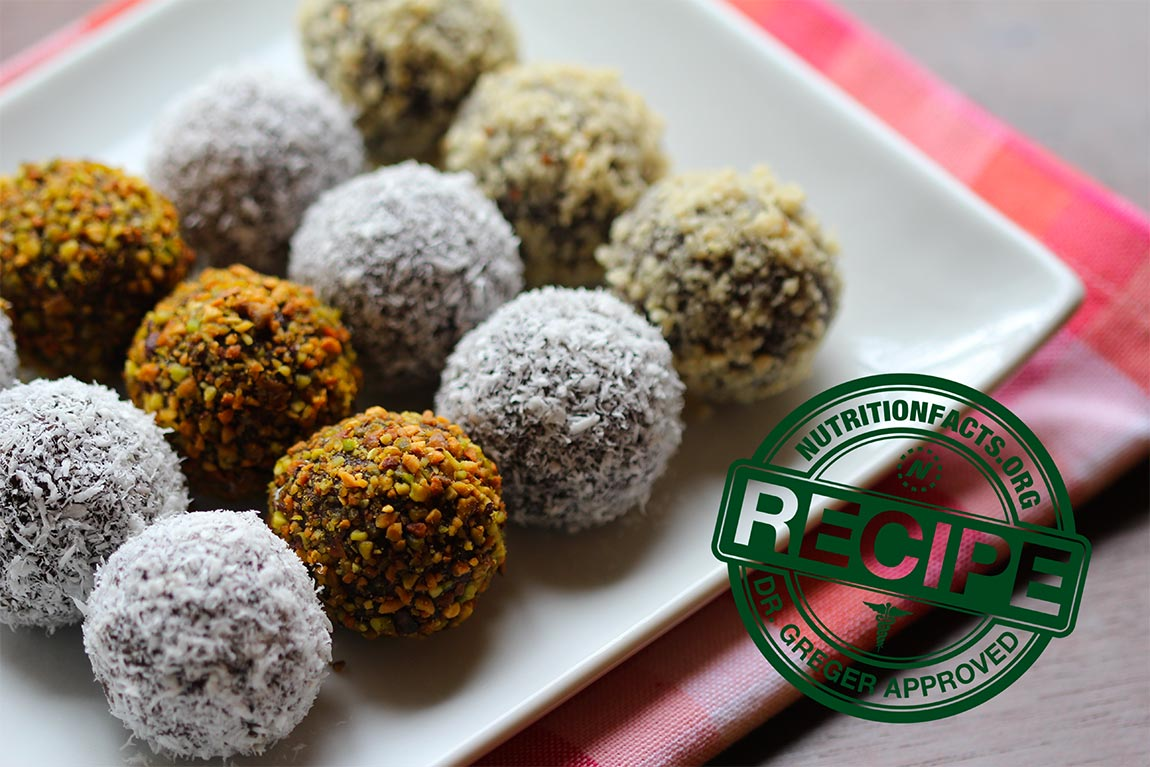 plate of chocolate balls - healthy holiday recipes