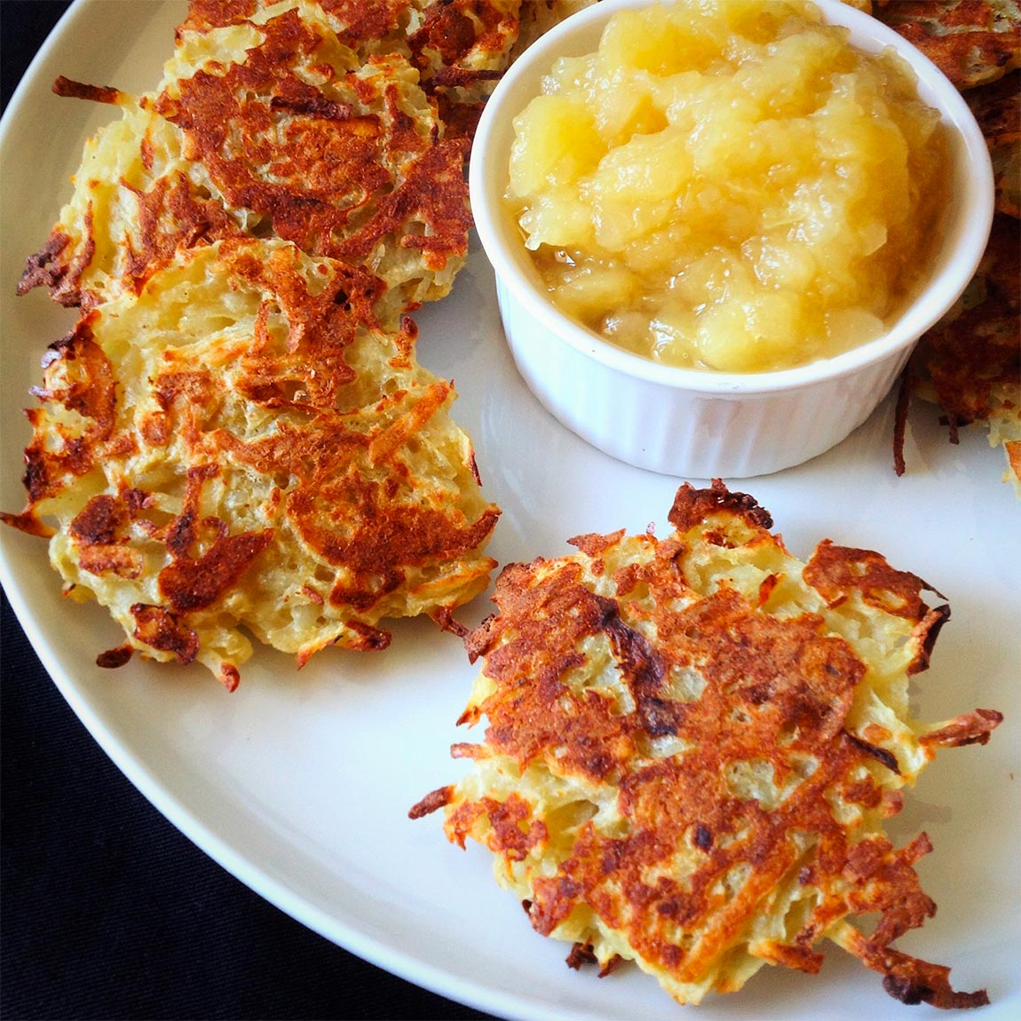 plate of potato latkes - healthy holiday recipes