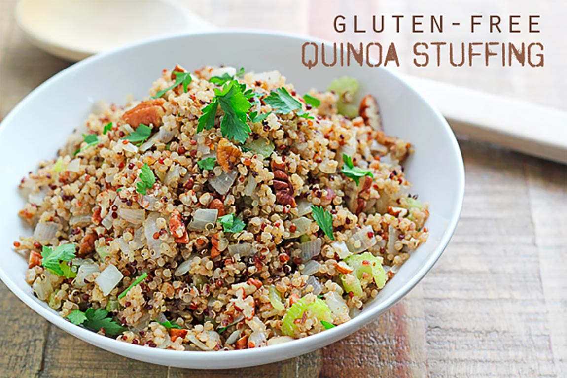 bowl of quinoa stuffing - healthy holiday recipes