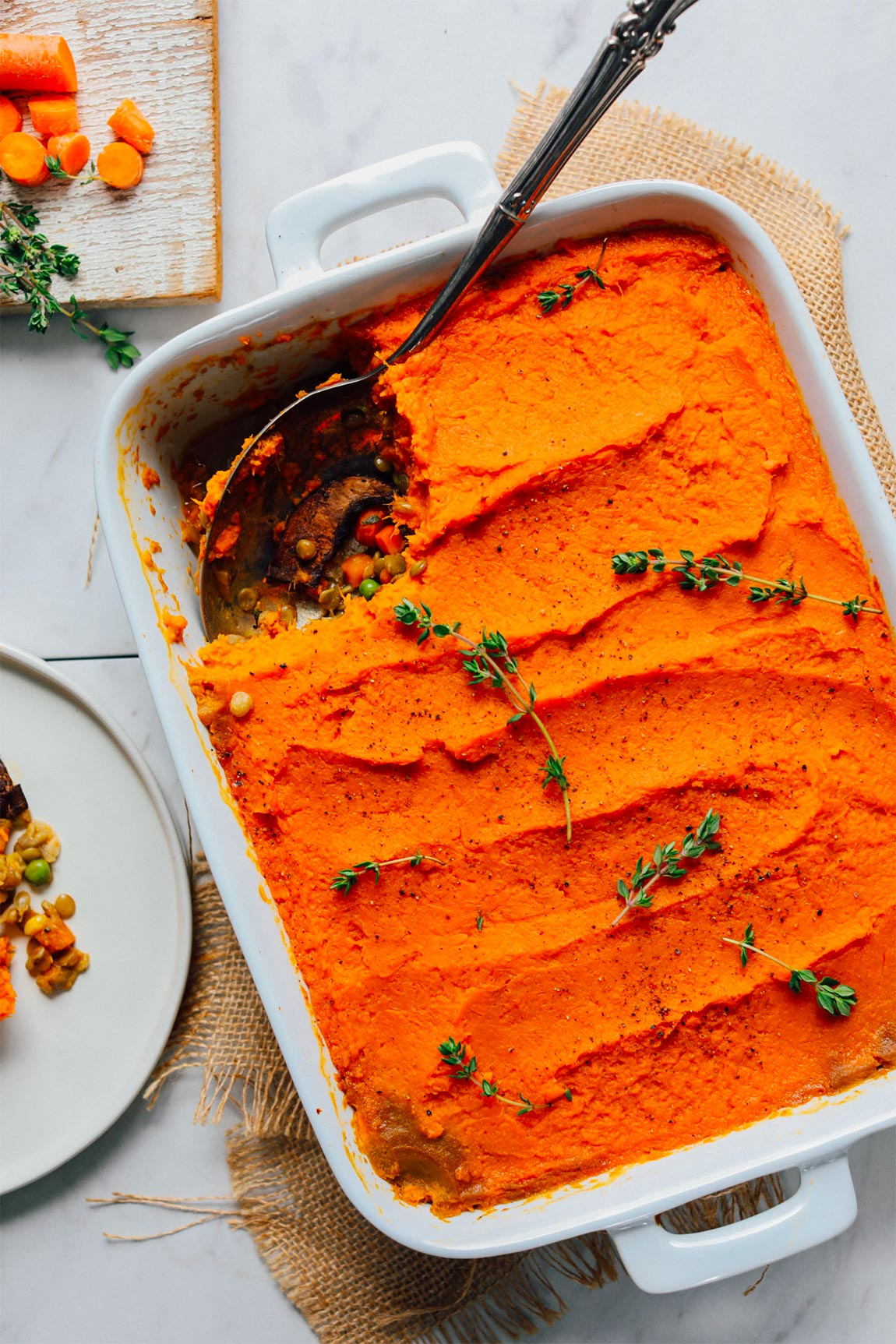 dish of shepherd's pie - healthy holiday recipes