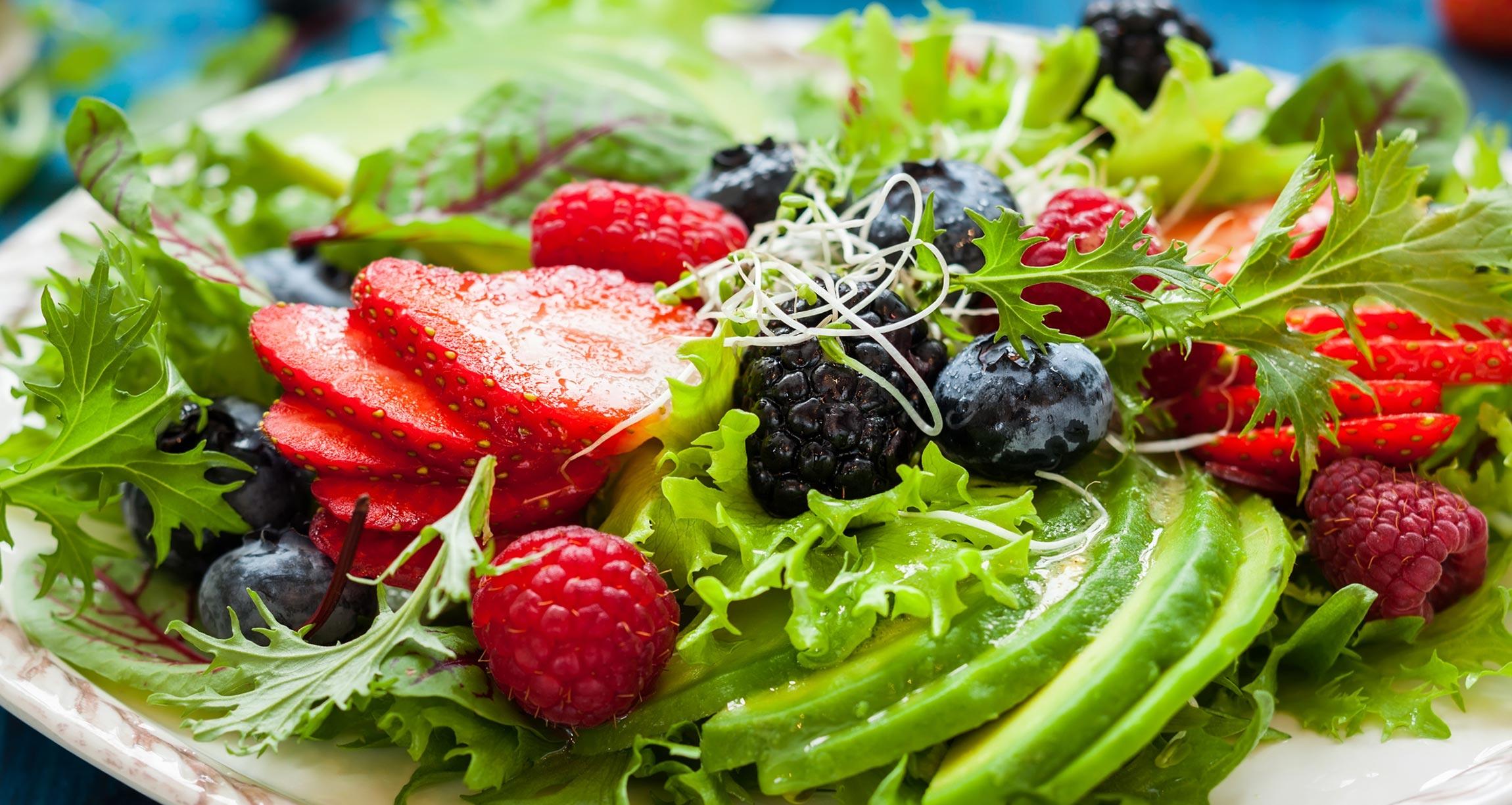 salad with strawberries, blueberries, and blackberries