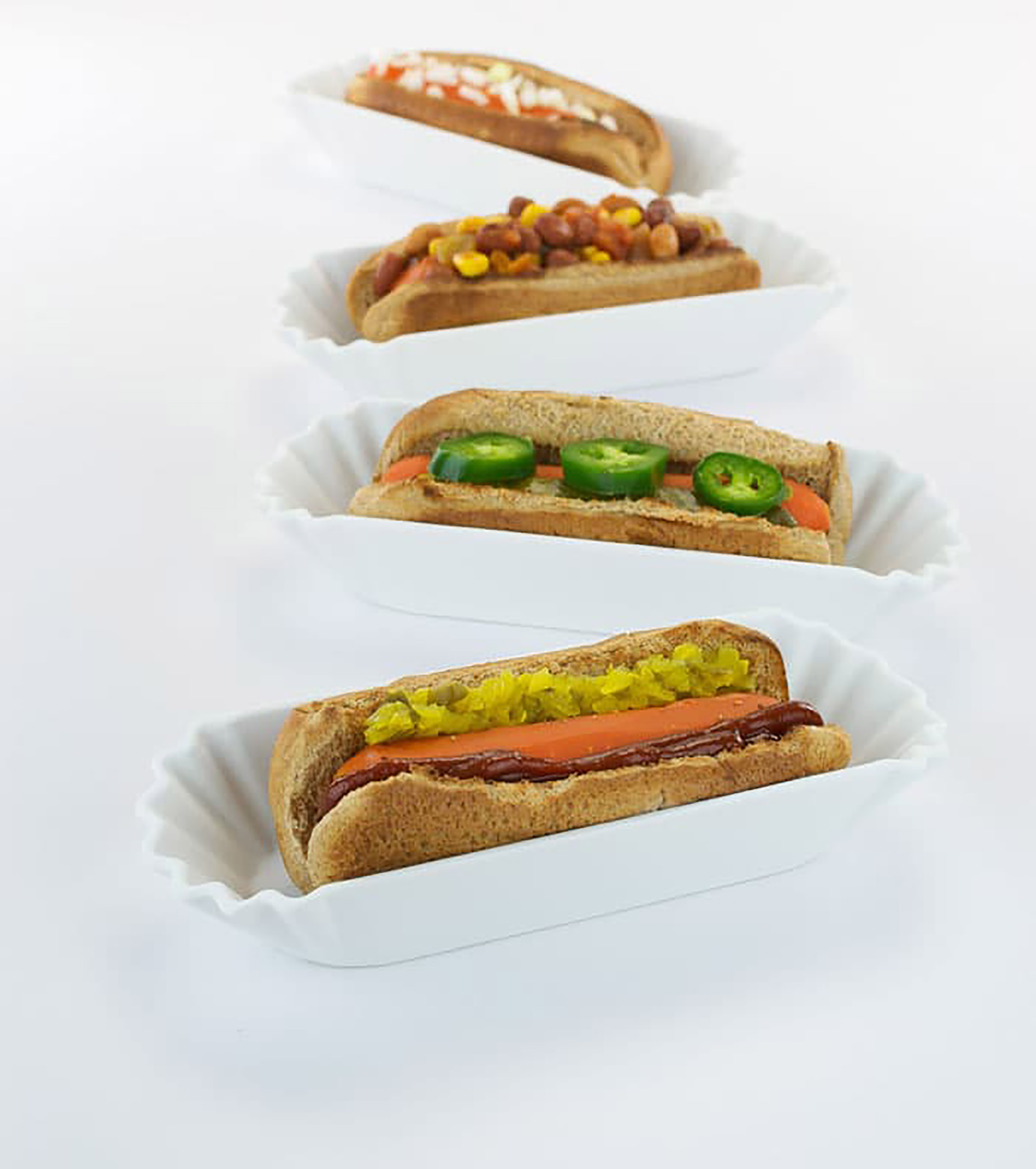carrot dogs in serving dishes